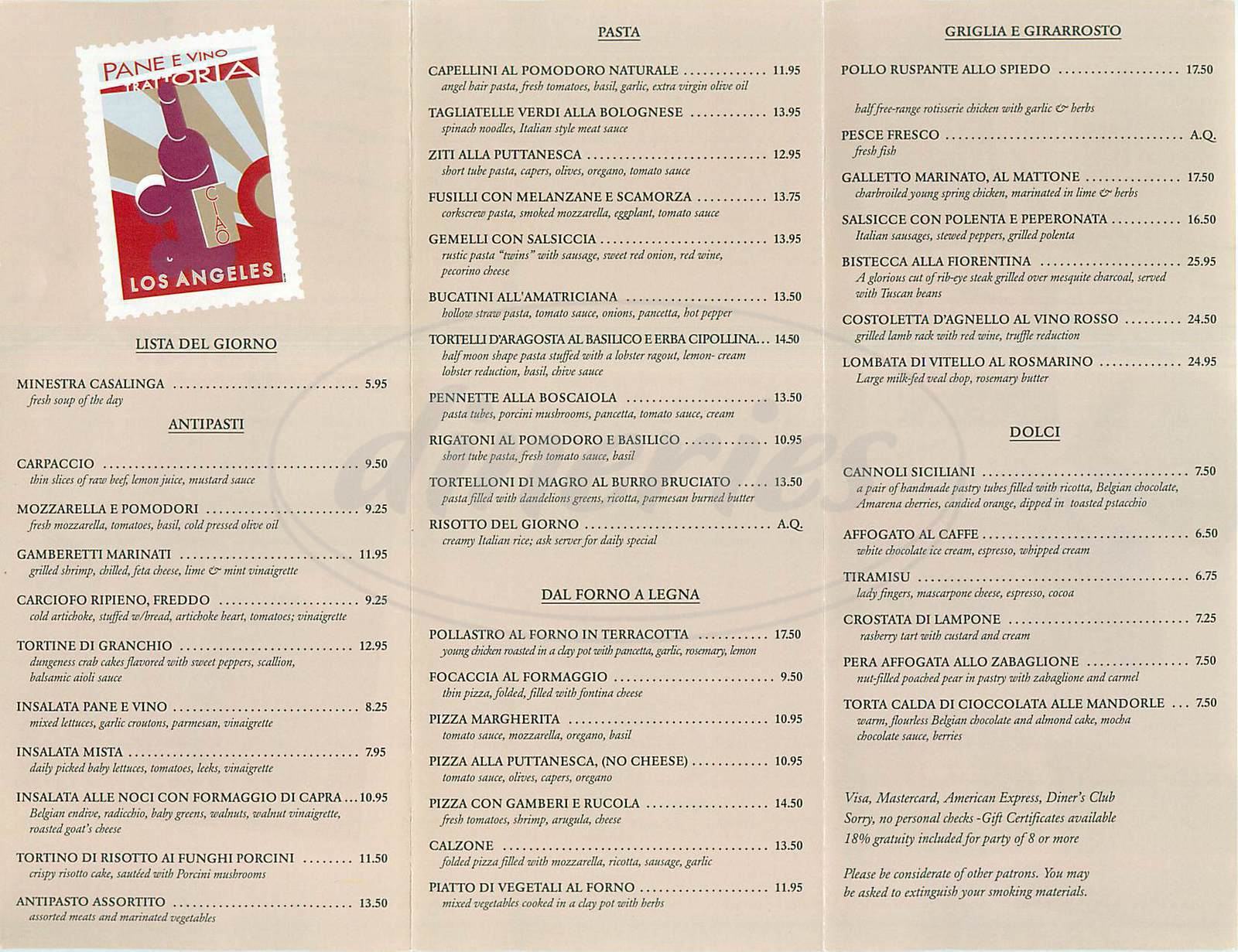 Big menu for Pane E Vino Trattoria, Los Angeles