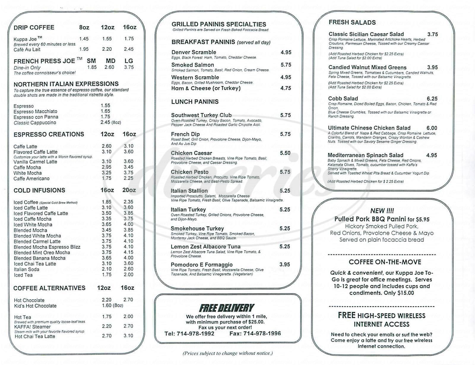 menu for Kaffa