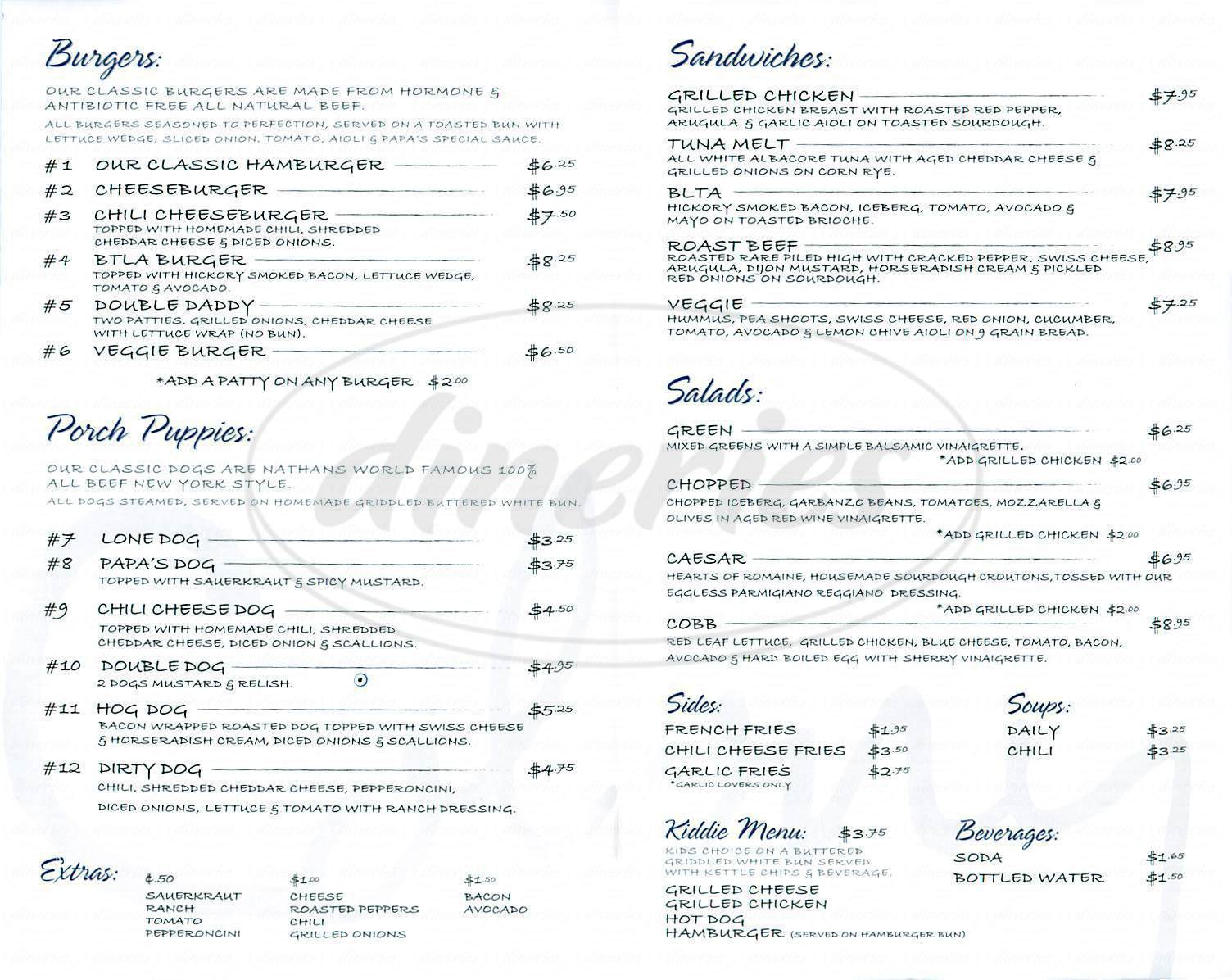 menu for The Colony Cafe