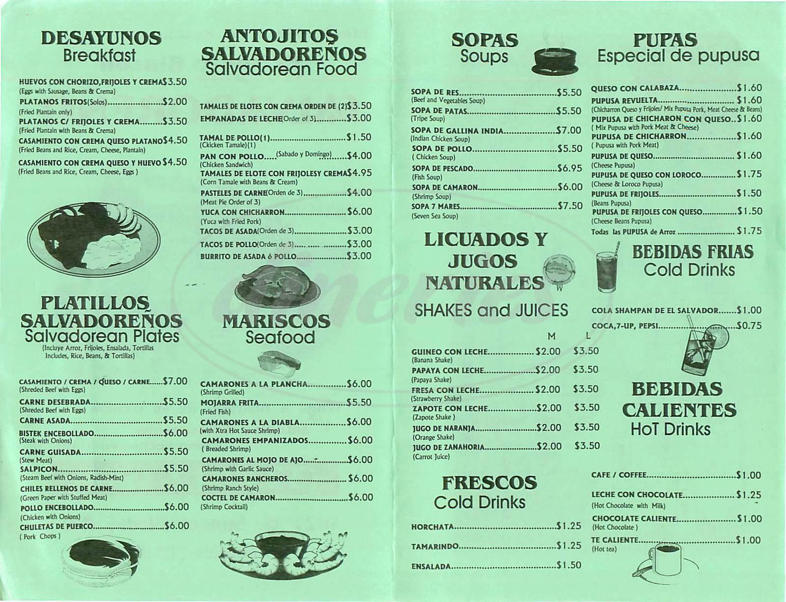 menu for El Nuevo Rincon Salvadoreno