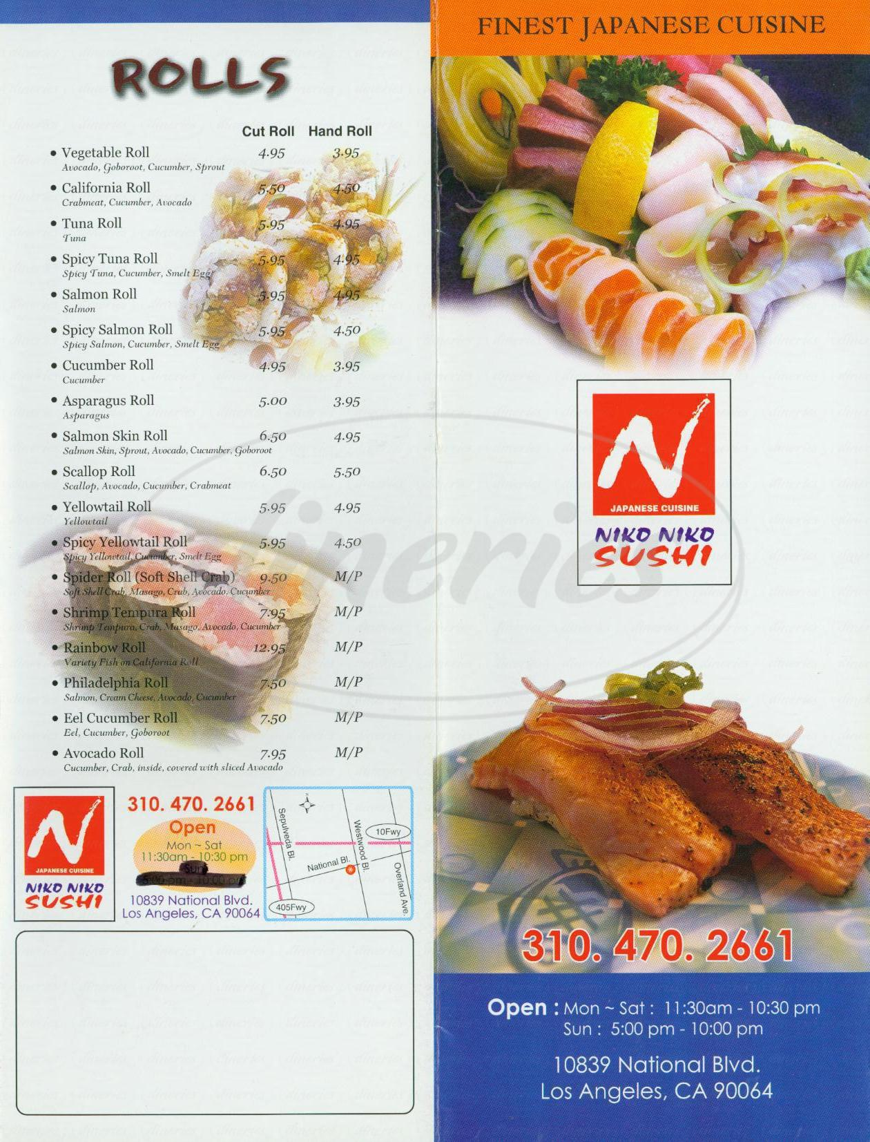 menu for Niko Niko Sushi