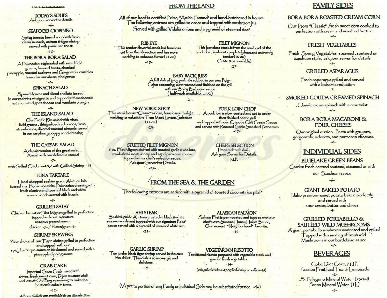 menu for Bora Bora