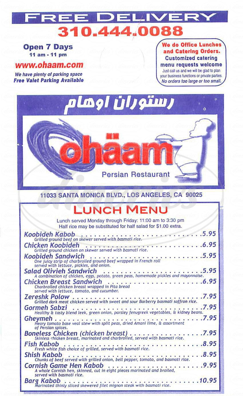 menu for Ohaam Grill