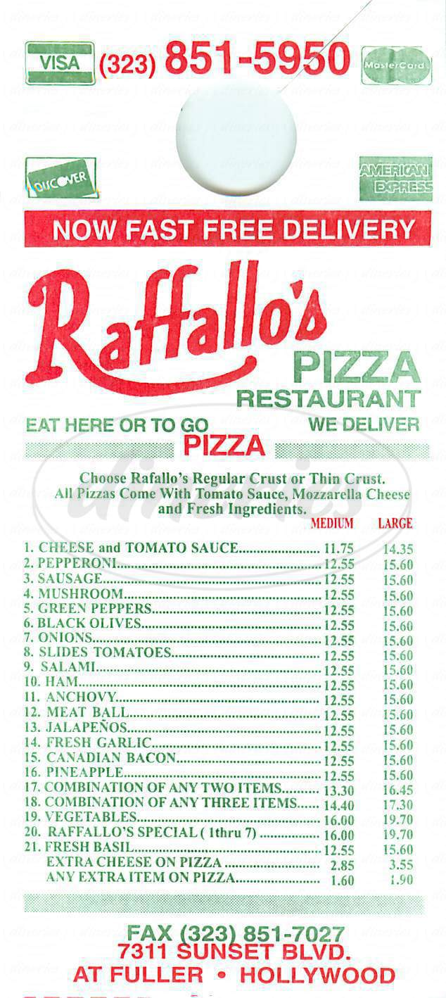 menu for Raffallo's Pizza