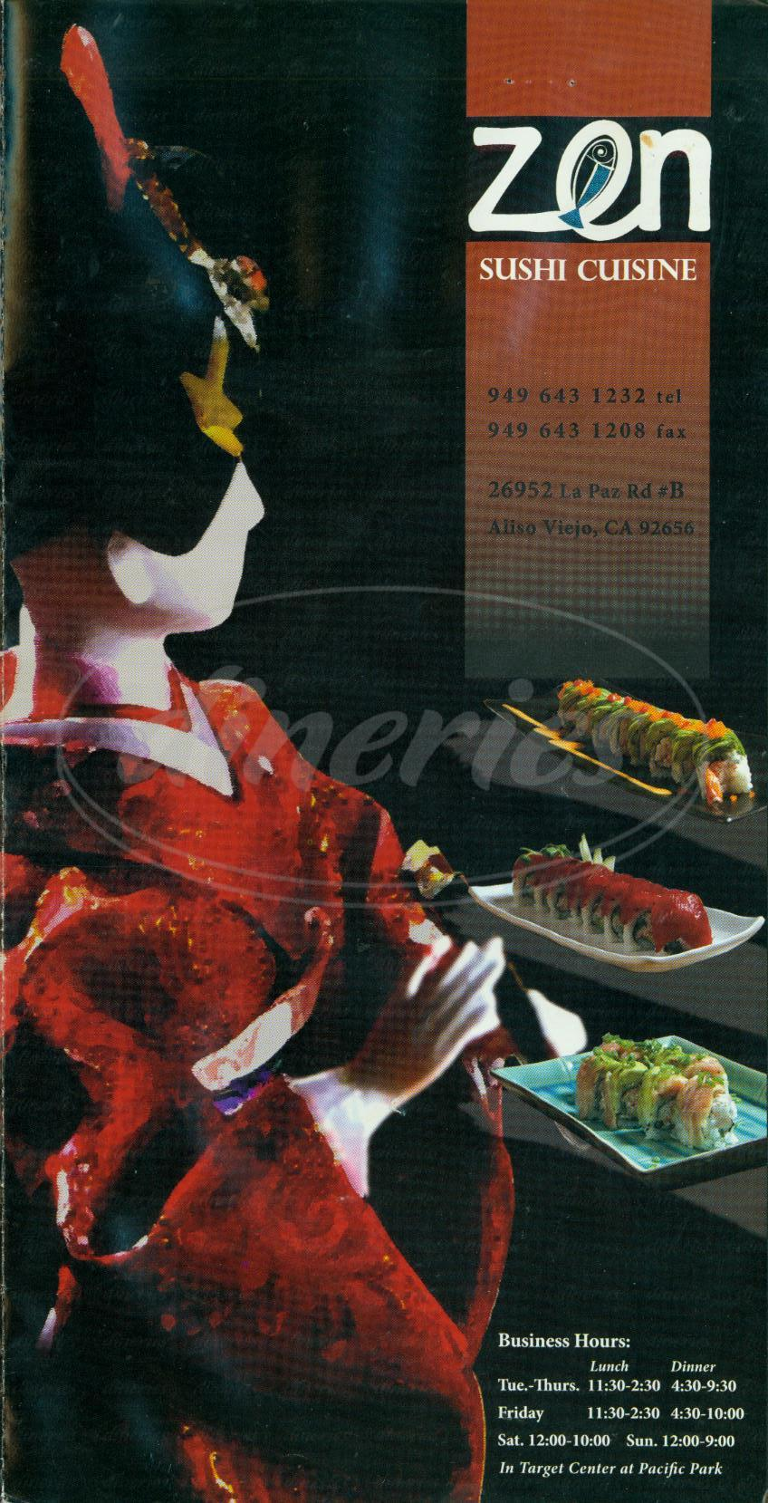 menu for Zen Sushi