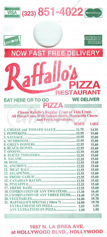 menu for Raffallo's Pizza