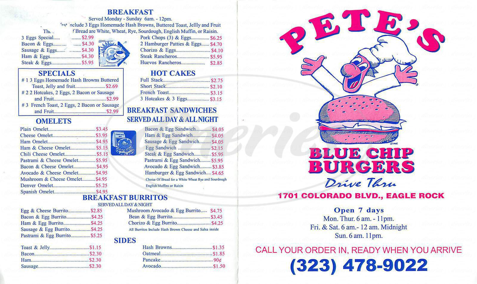 menu for Petes Blue Chip Burgers