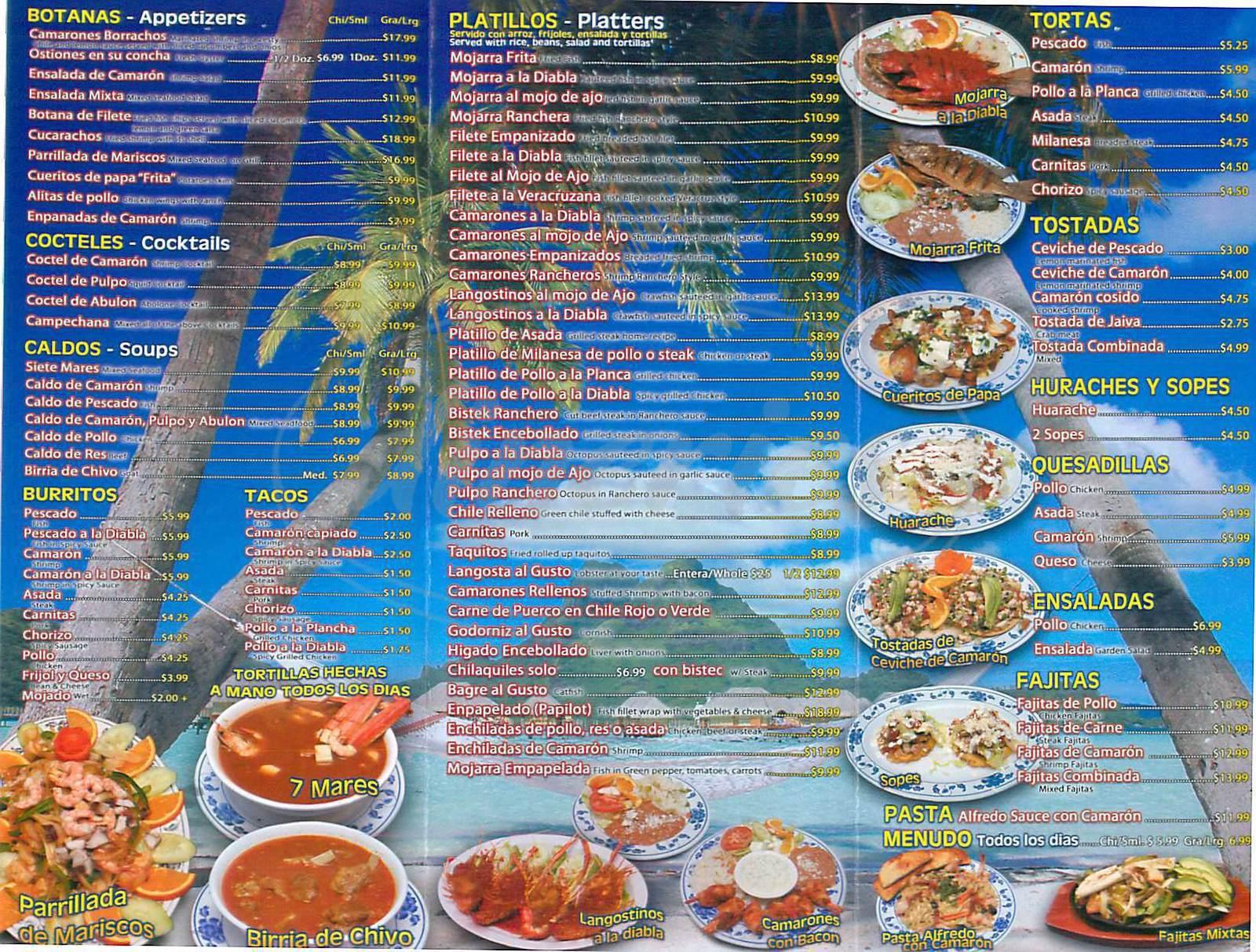 menu for La Mojarra Restaurant