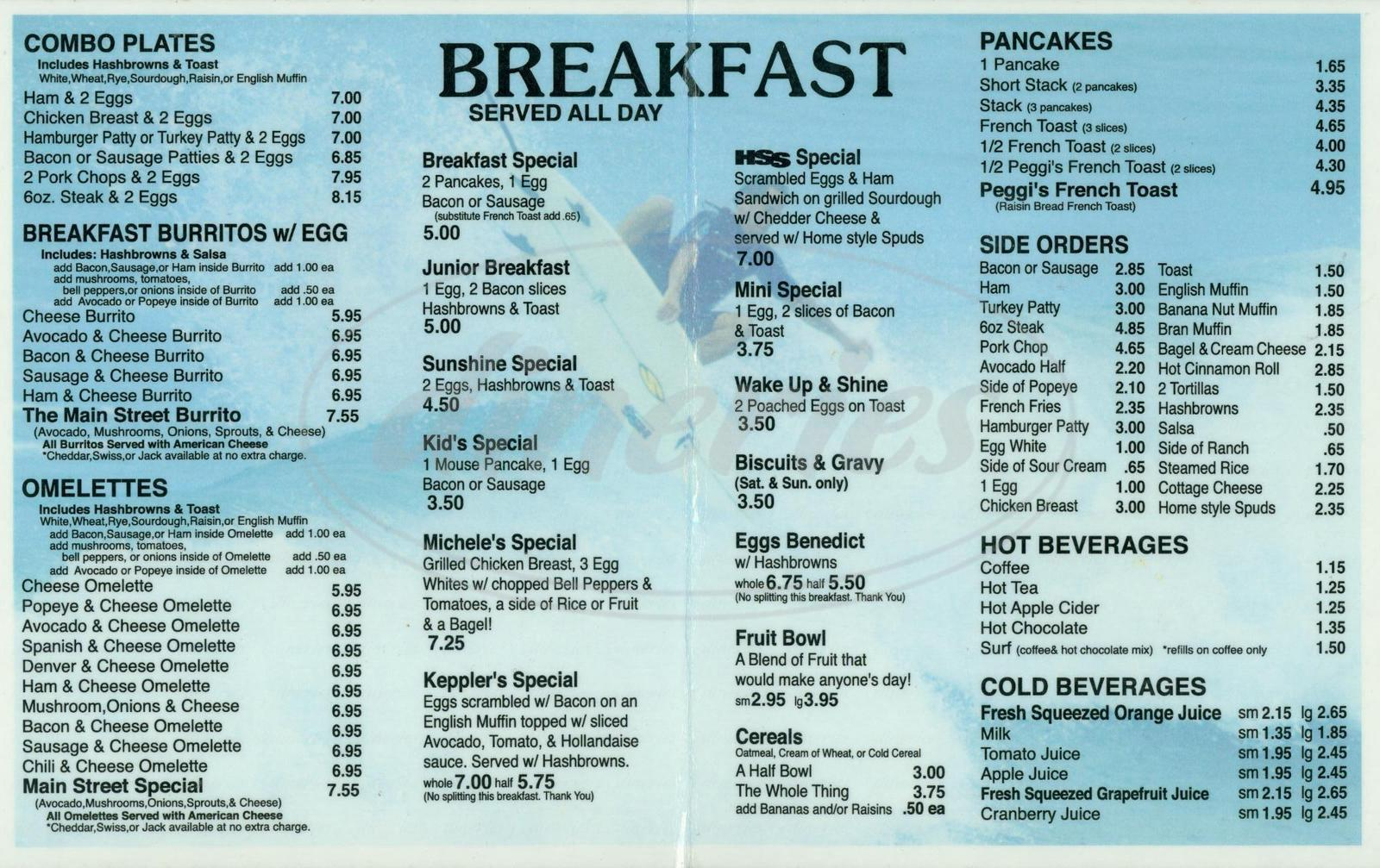 menu for Sugar Shack Café