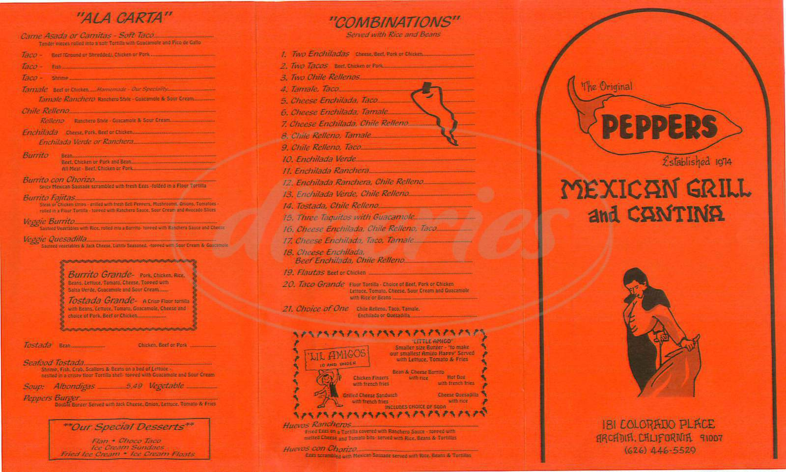 menu for Peppers Mexican Grill & Cantinia