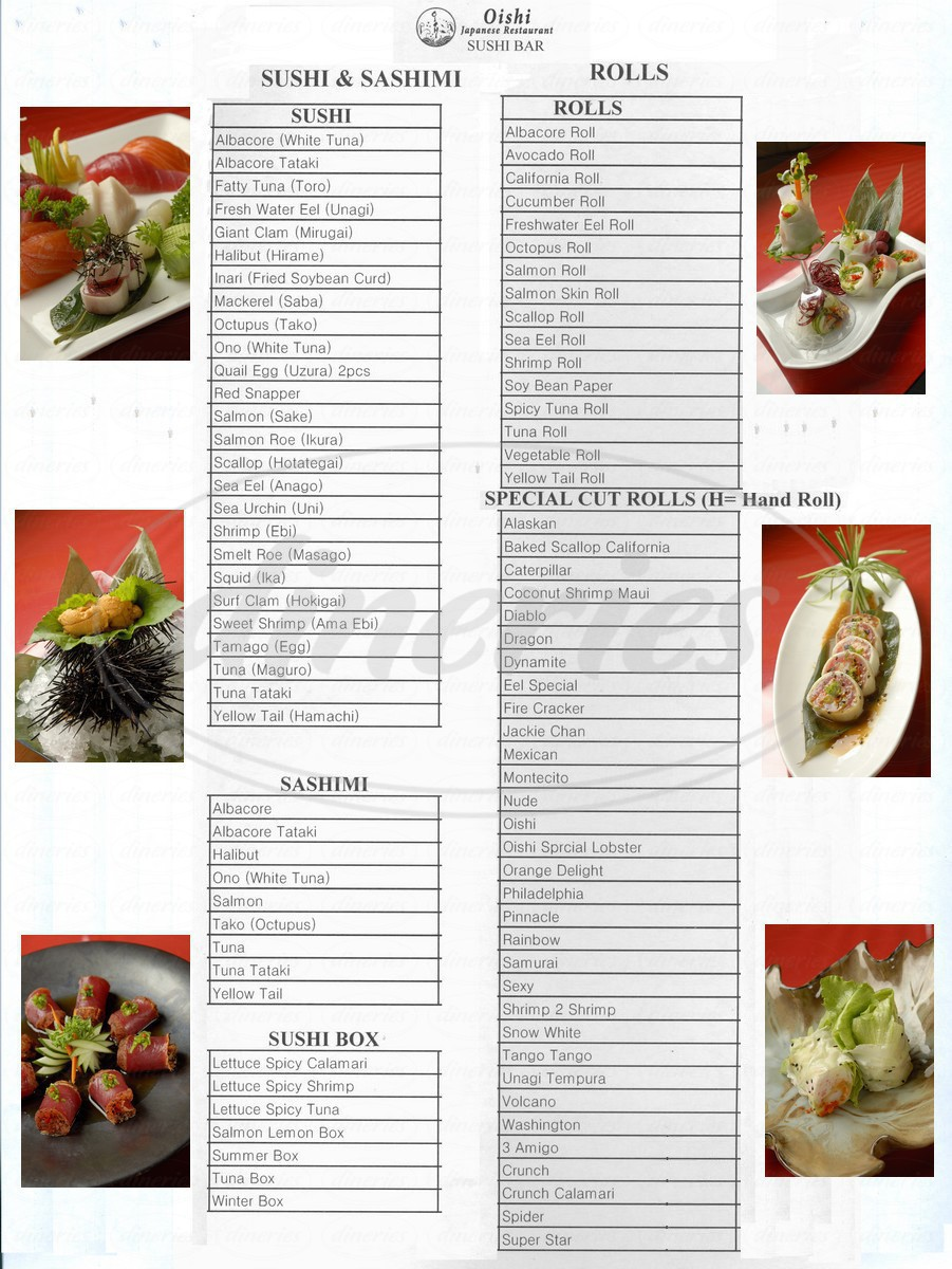 menu for Oishi Restaurant