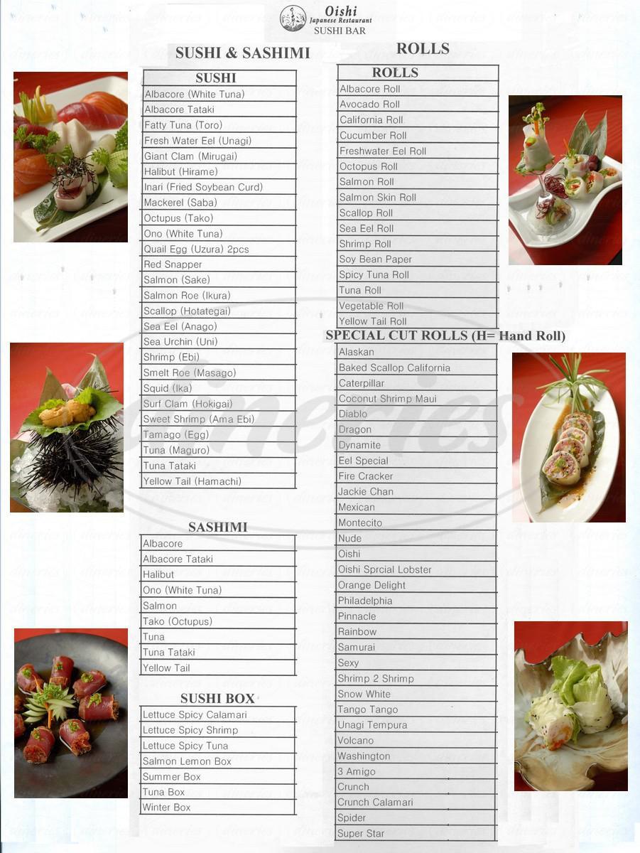 menu for Oishi Restaurant