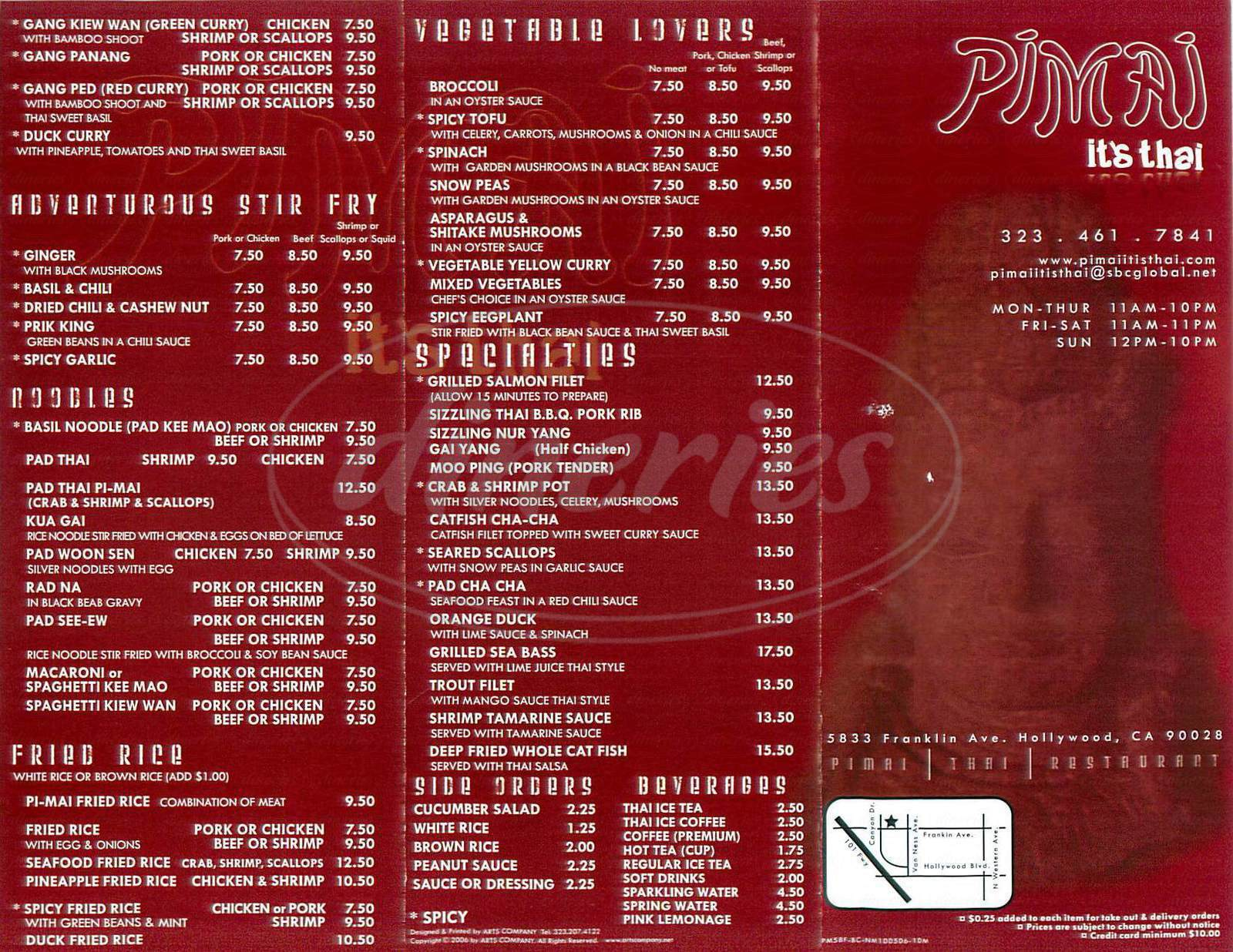 menu for Pimai Restaurant
