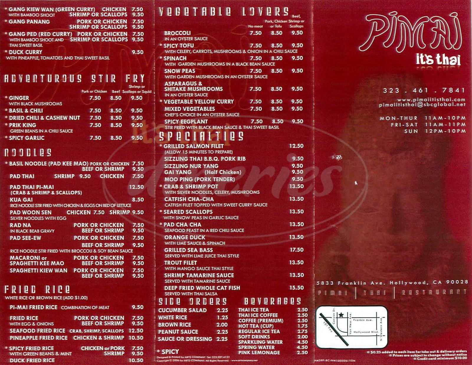 menu for Pimai Restaurant