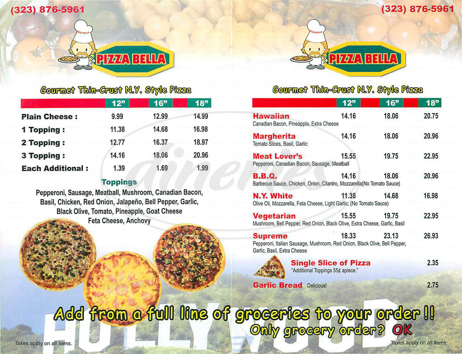 menu for Pizza Bella