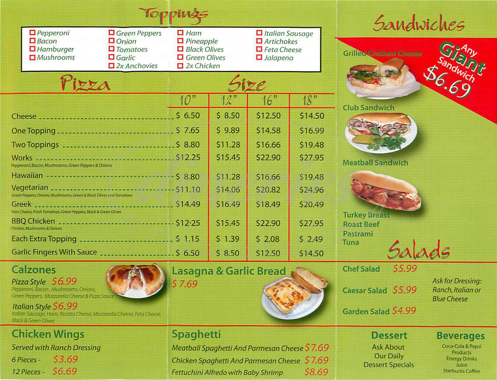 menu for Pizza Al Forno