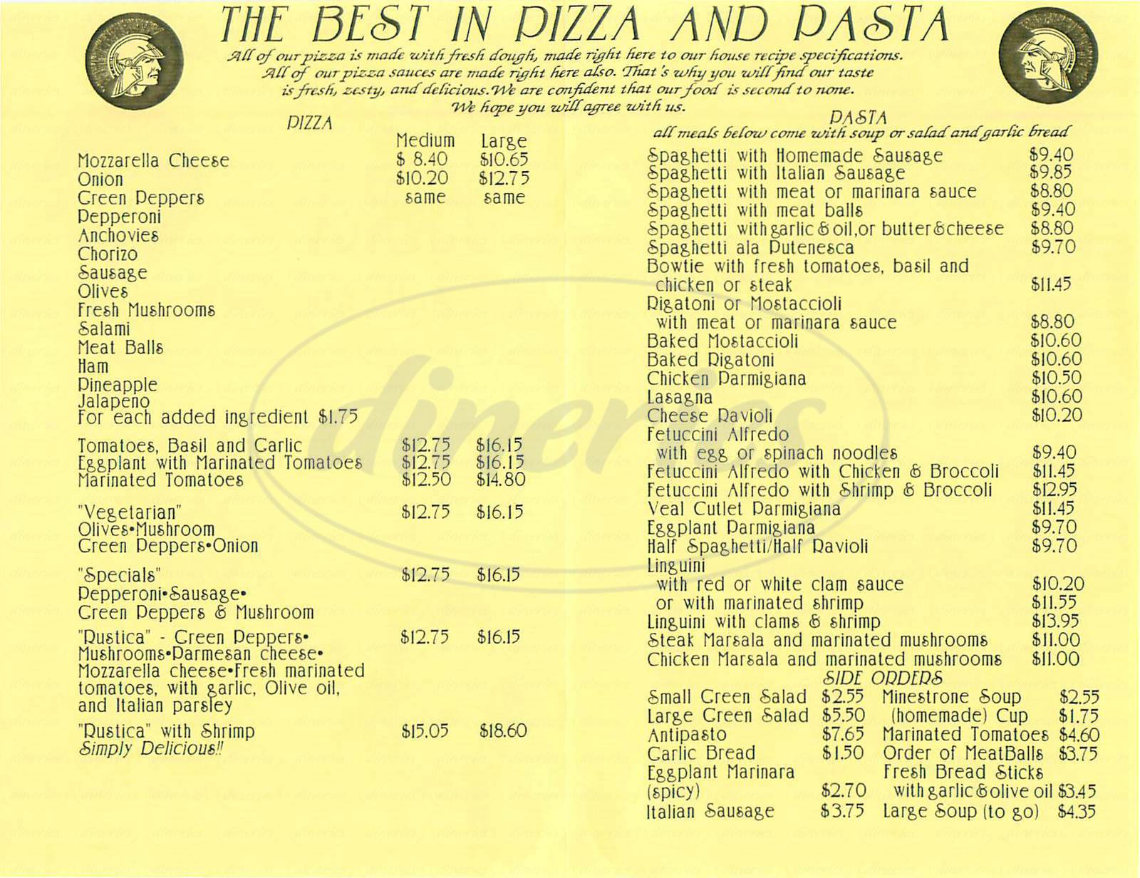 menu for Pizza Buona