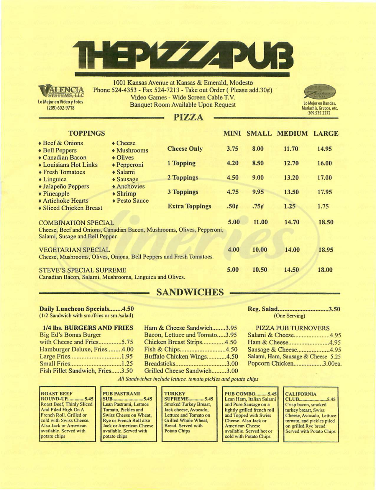 menu for The Pizza Pub