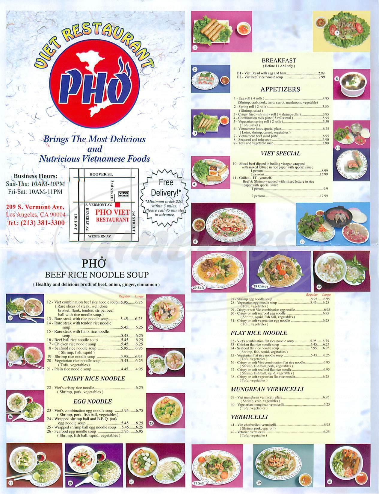 menu for Viet Restaurant