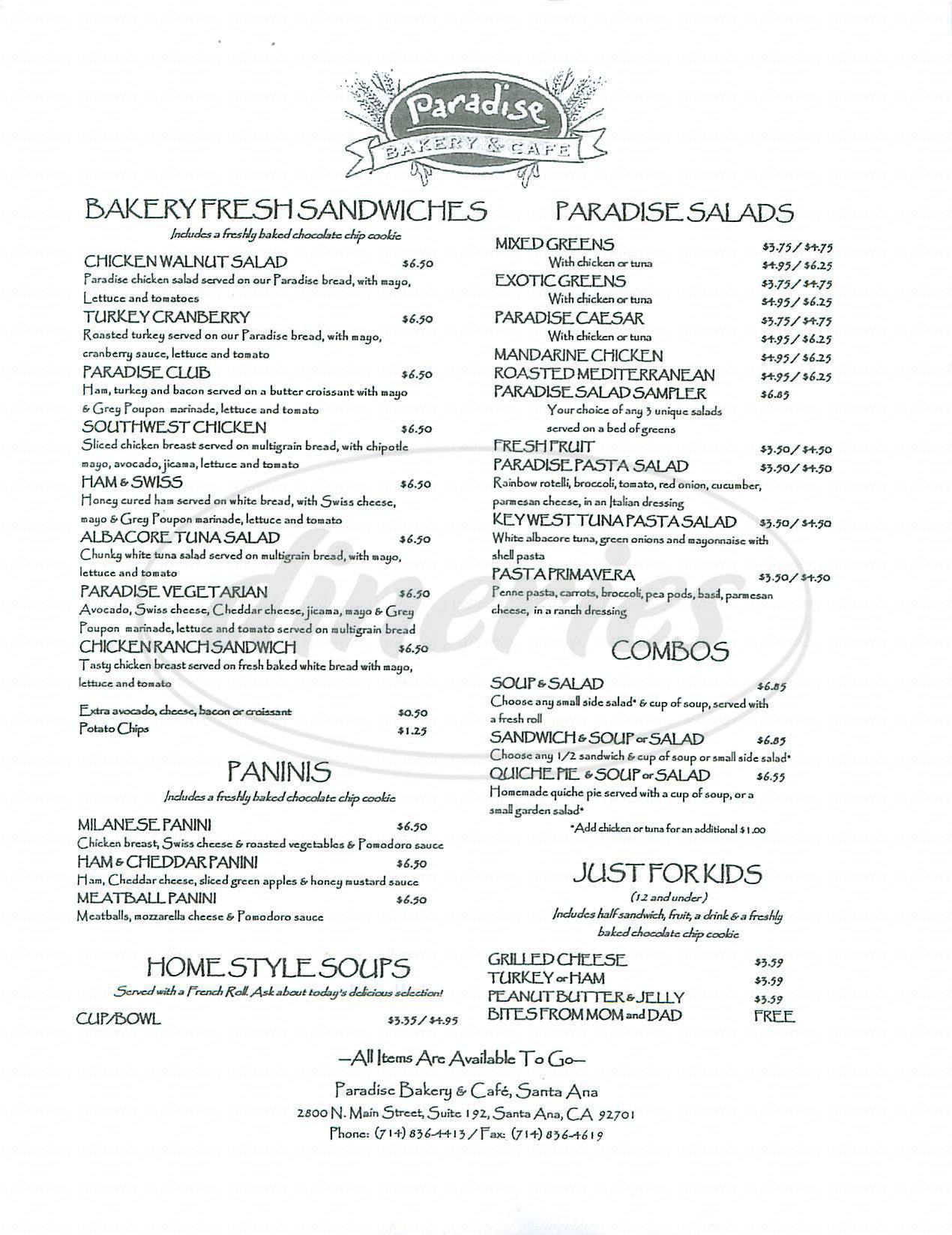 menu for Paradise Bakery & Cafe