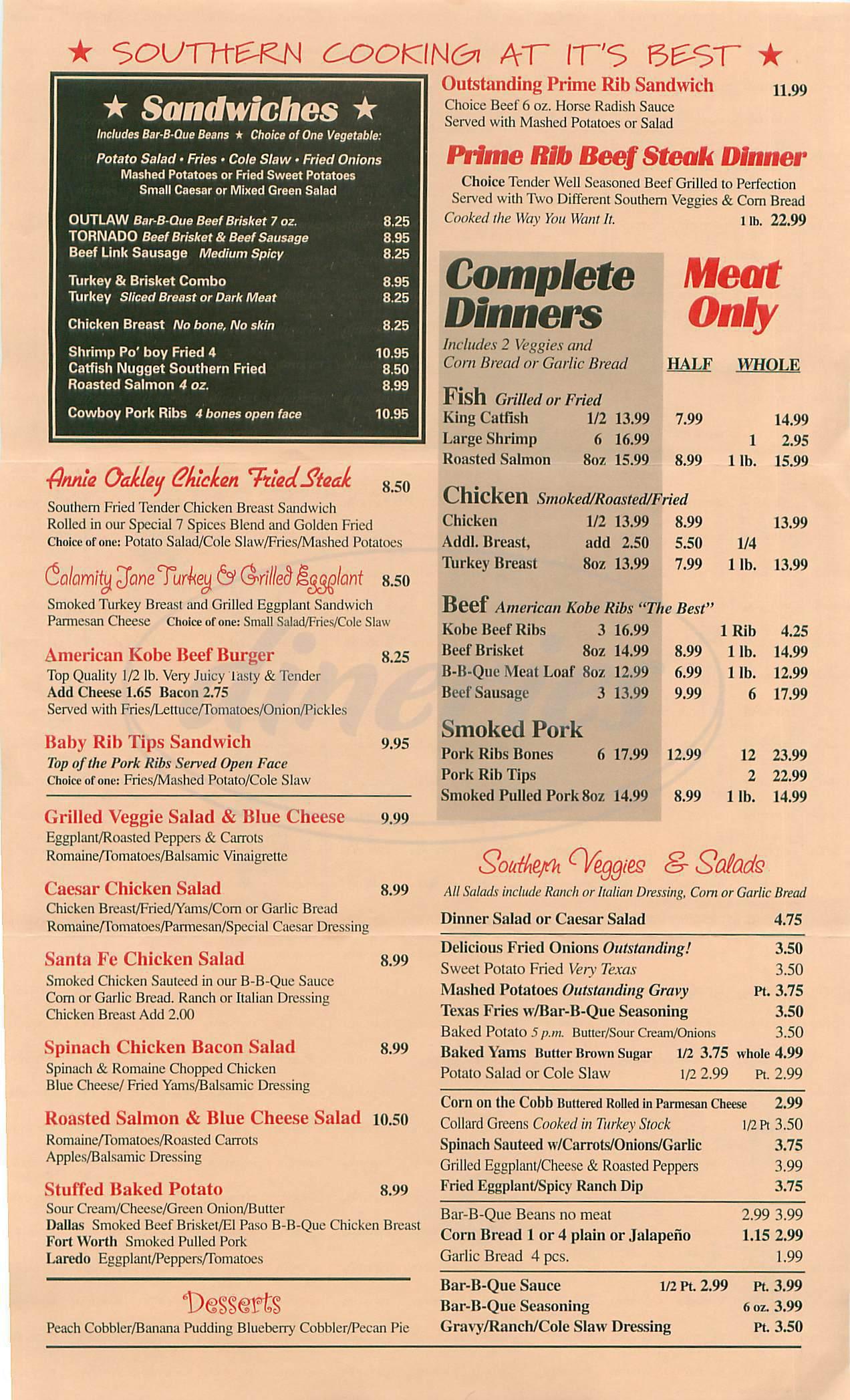 menu for Western Smoke House