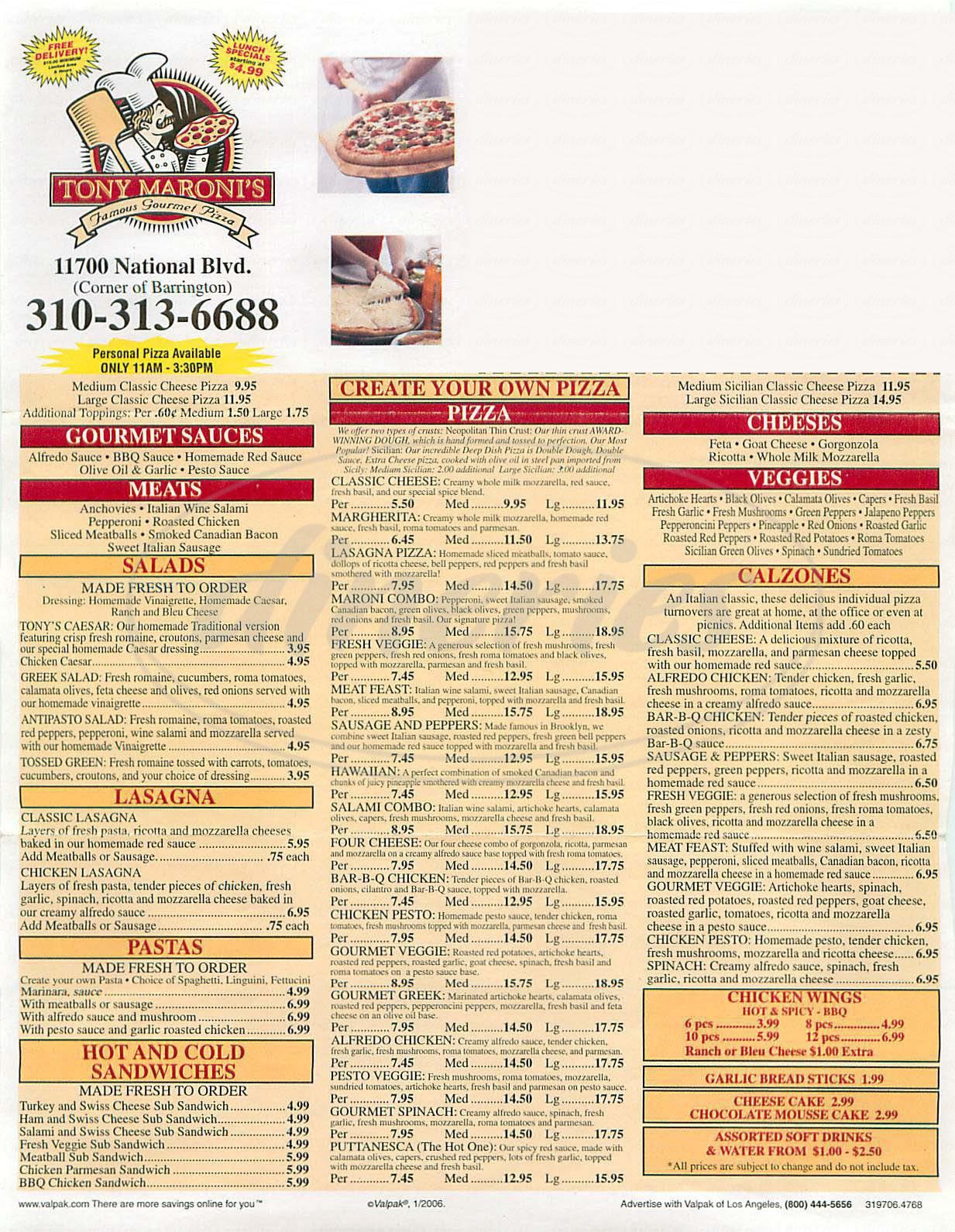 menu for Tony Maronis Famous Gourmet Pizza