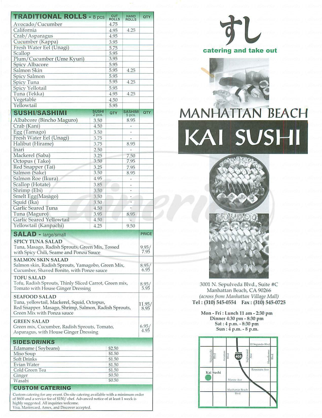 menu for Kai Sushi Manhattan