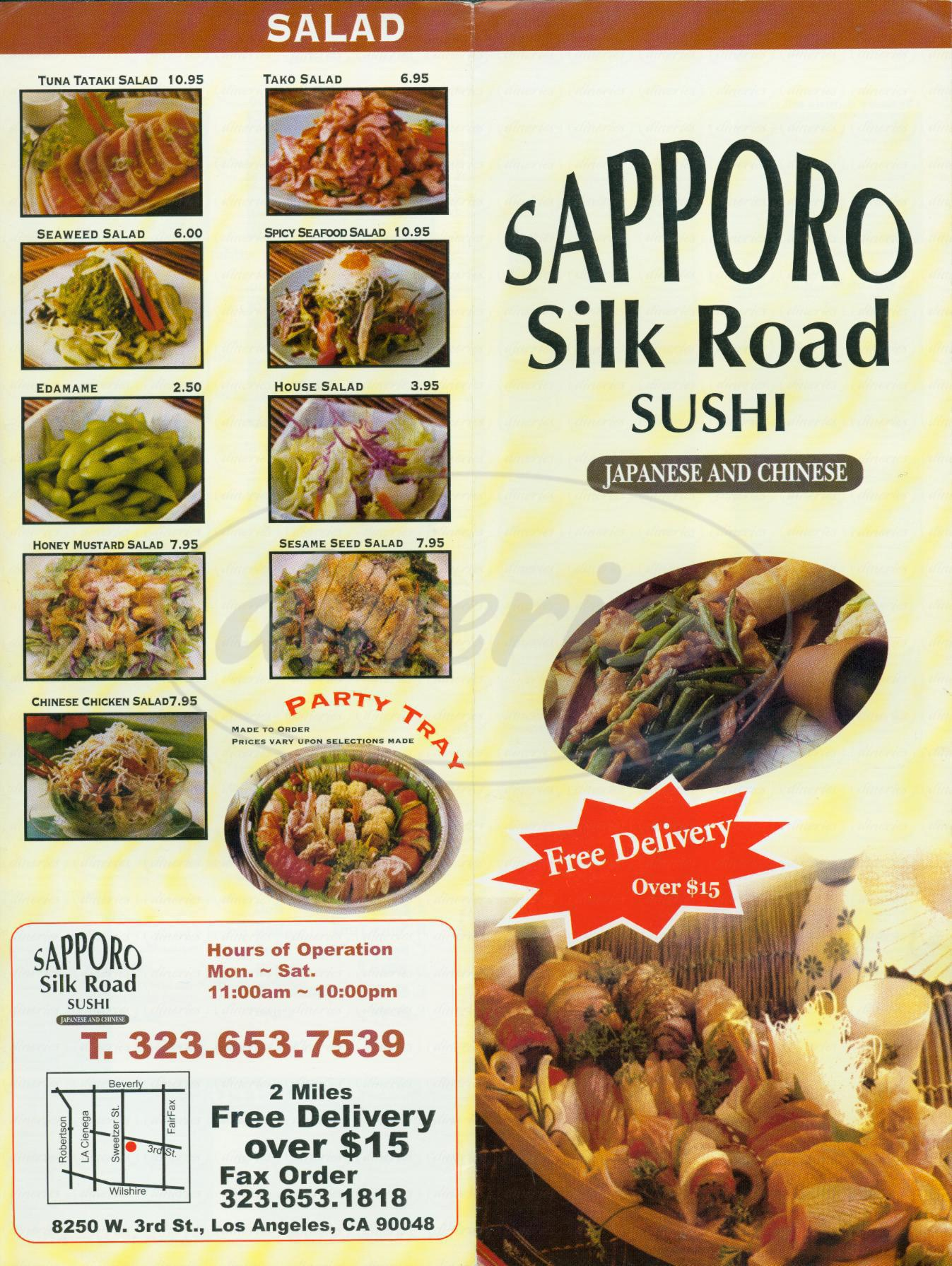 menu for Sapporo Silk Road