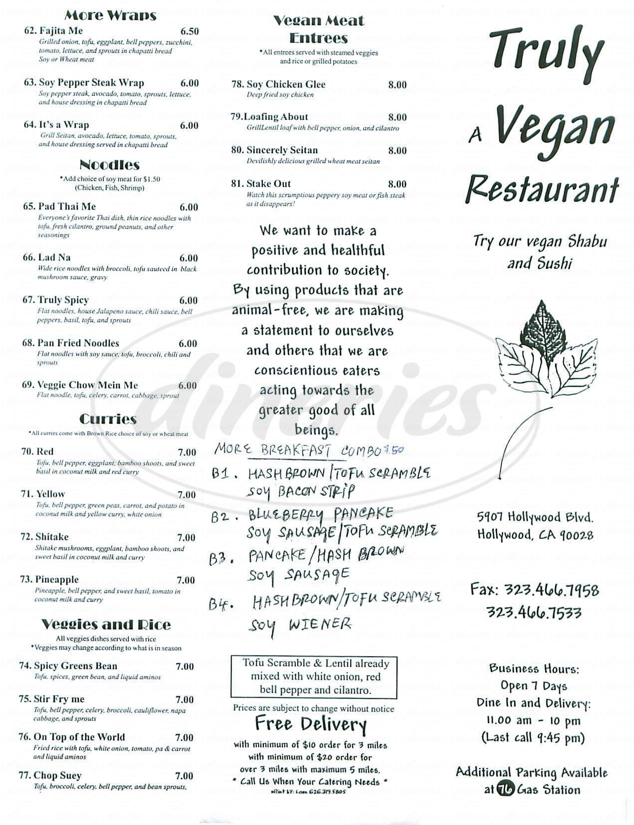 menu for Truly Vegan Restaurant