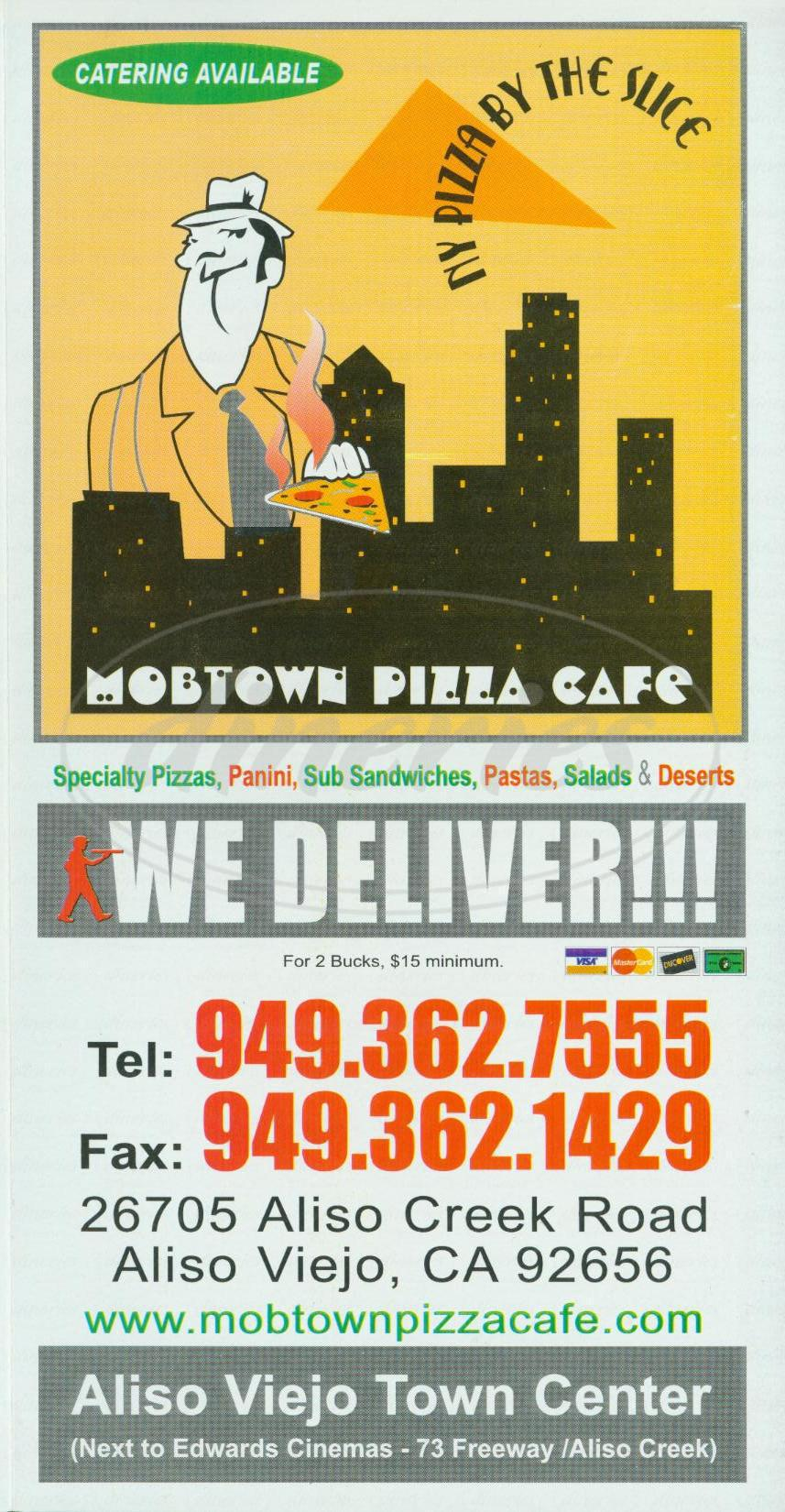 menu for Mobtown Pizza Café