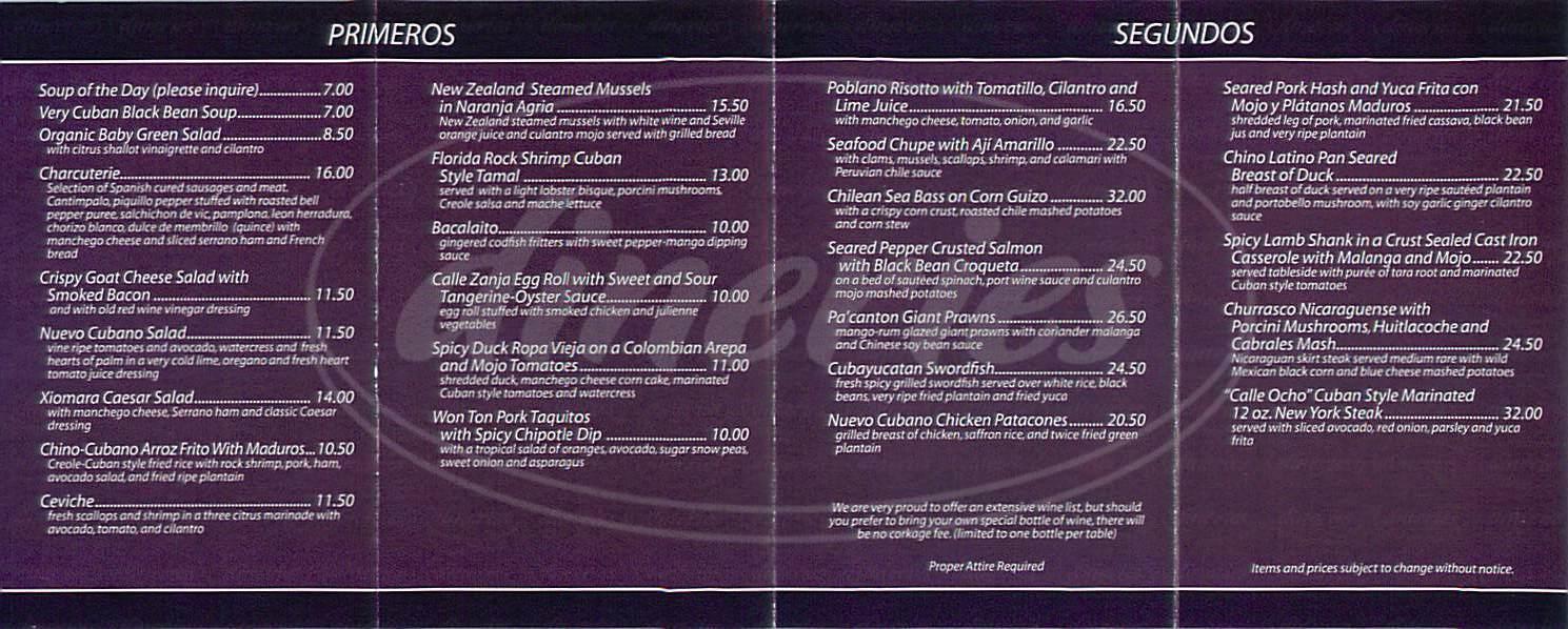 menu for Xiomara On Melrose