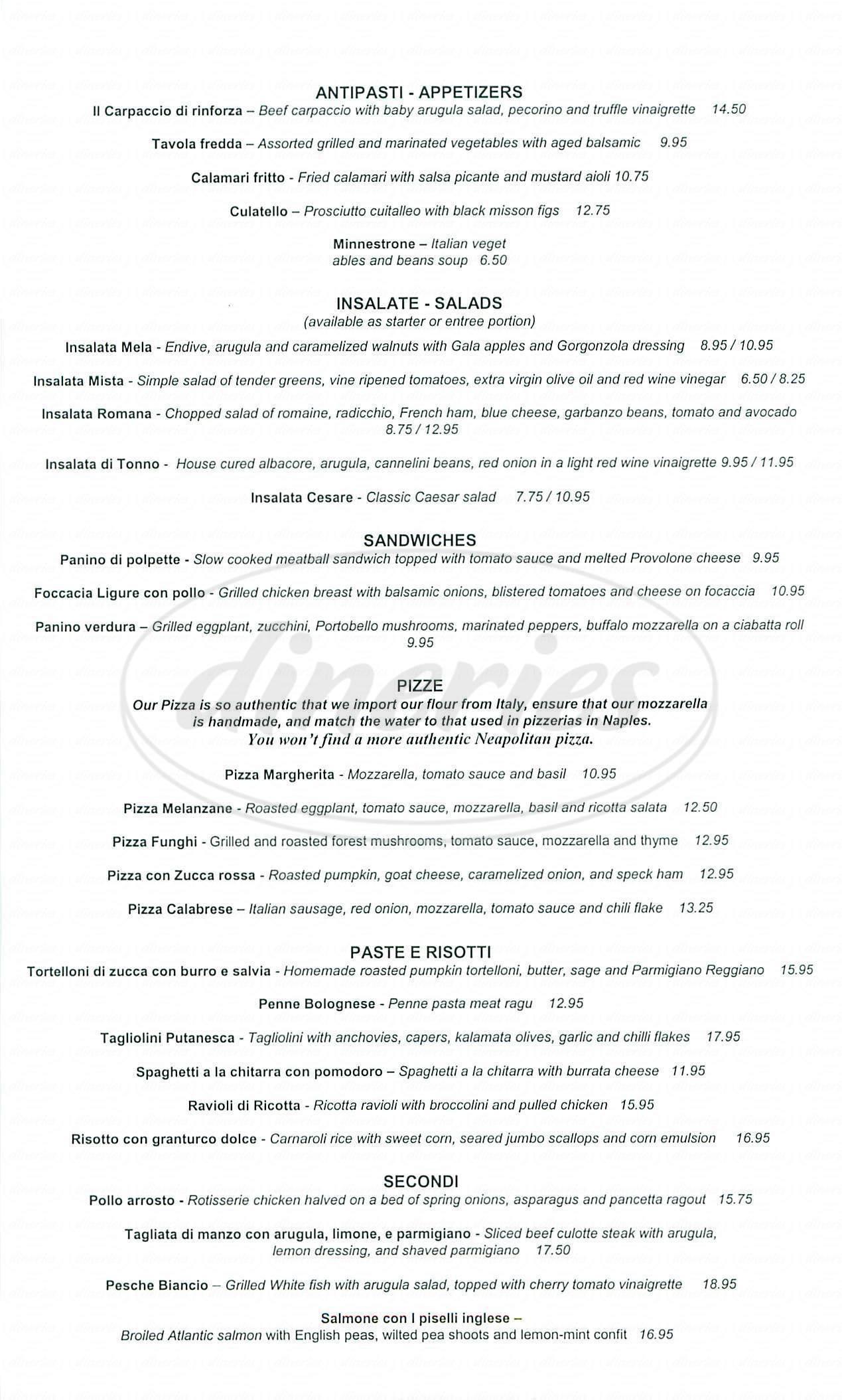 menu for Zucca Ristorante