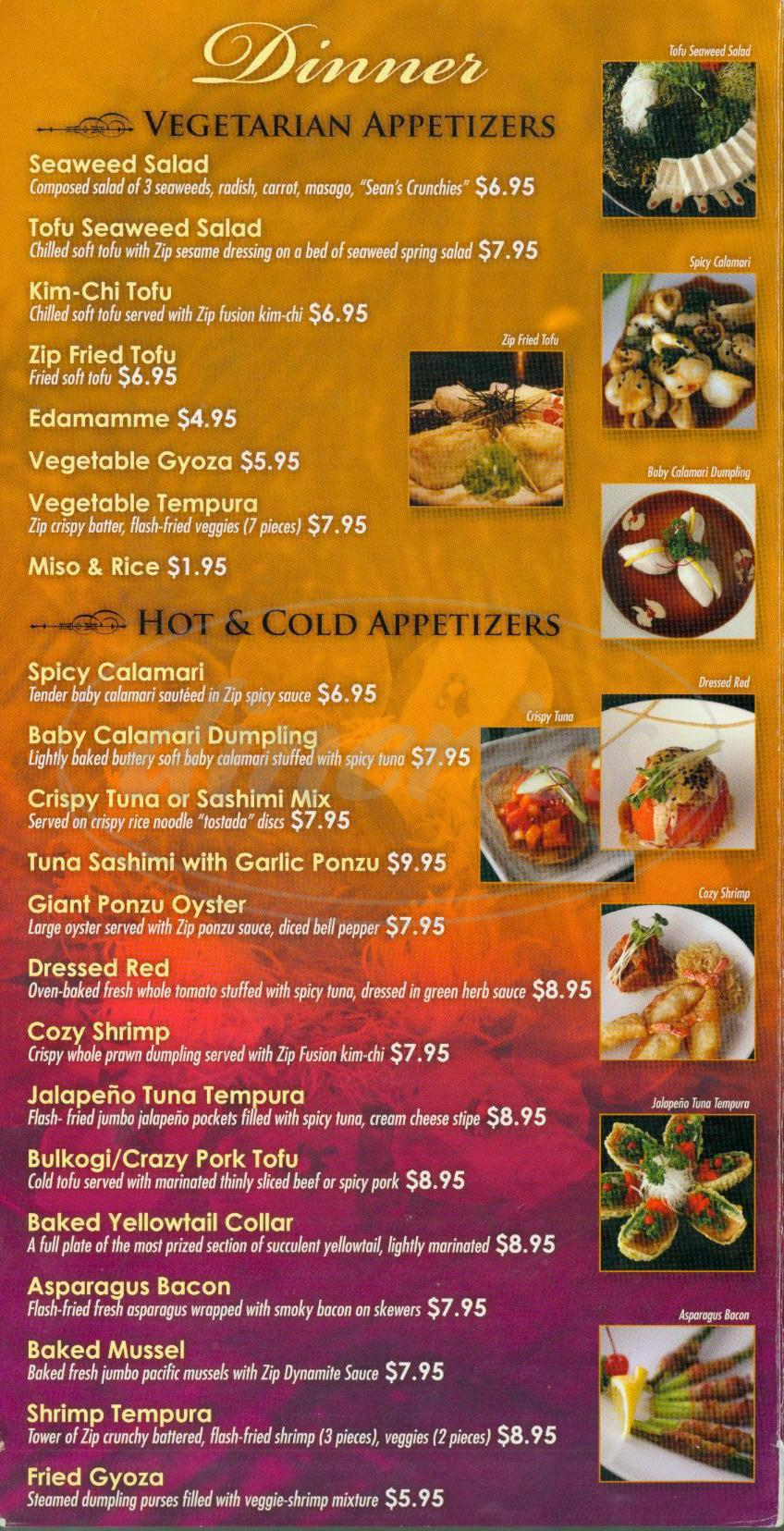 menu for Zip Fusion Sushi