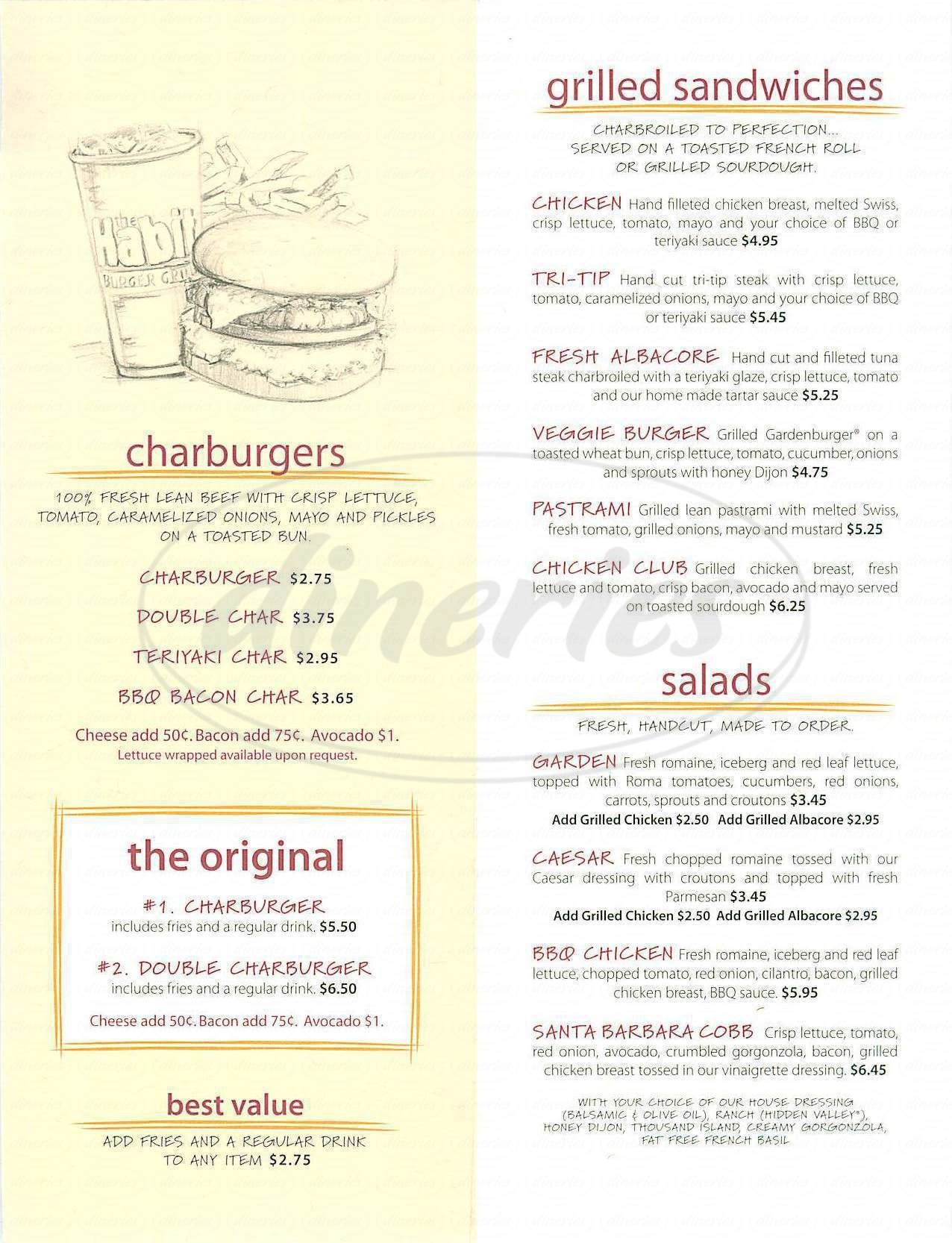menu for The Habit