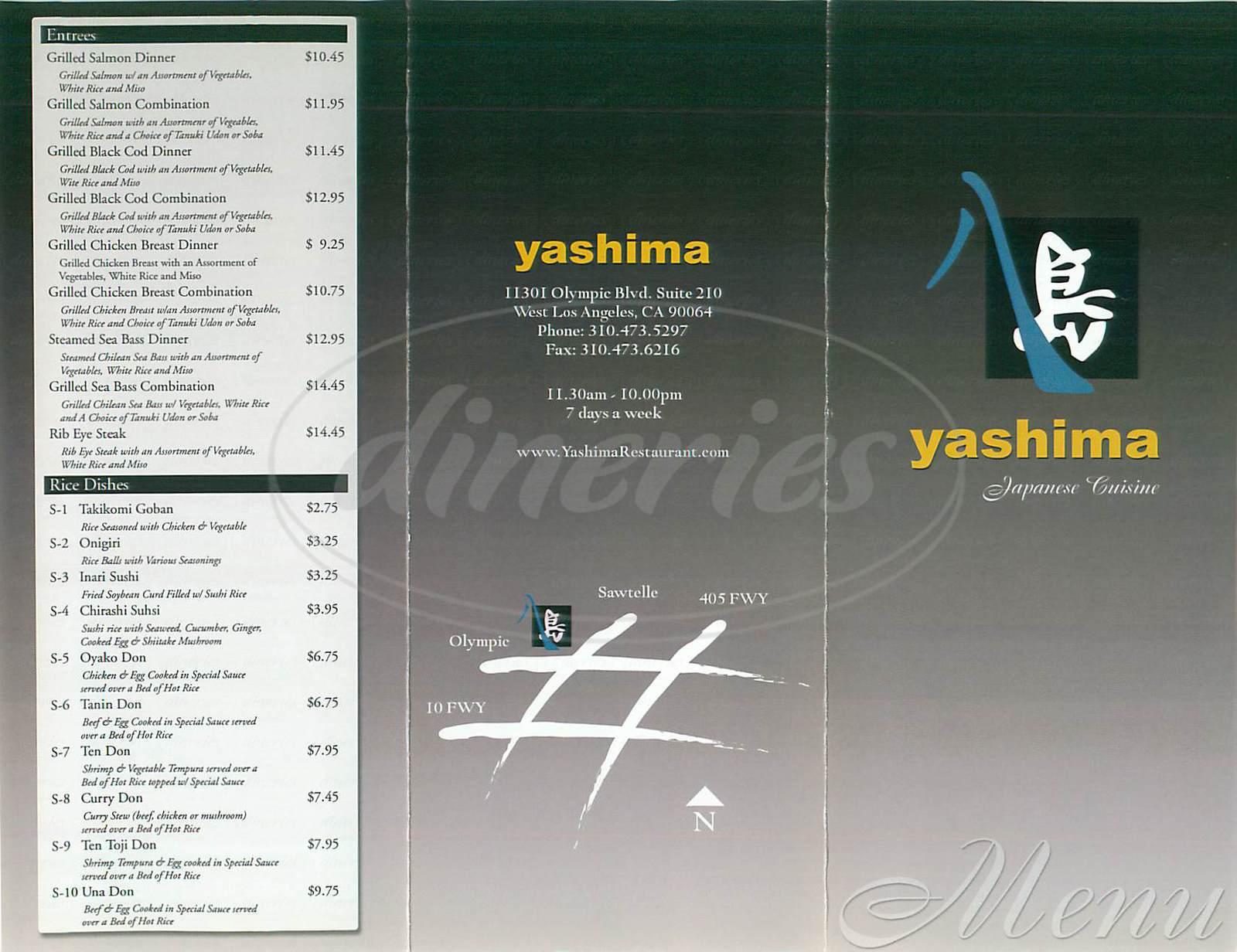 menu for Yashima