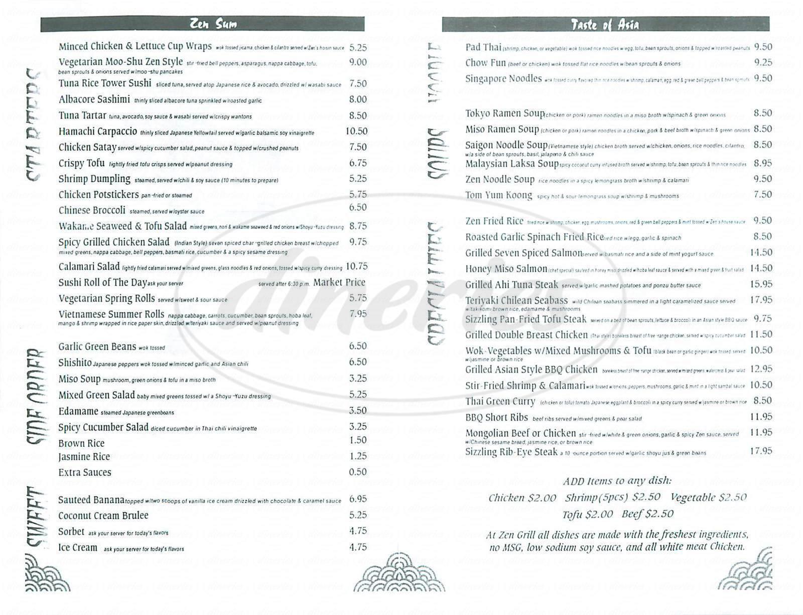 menu for Zen Grill