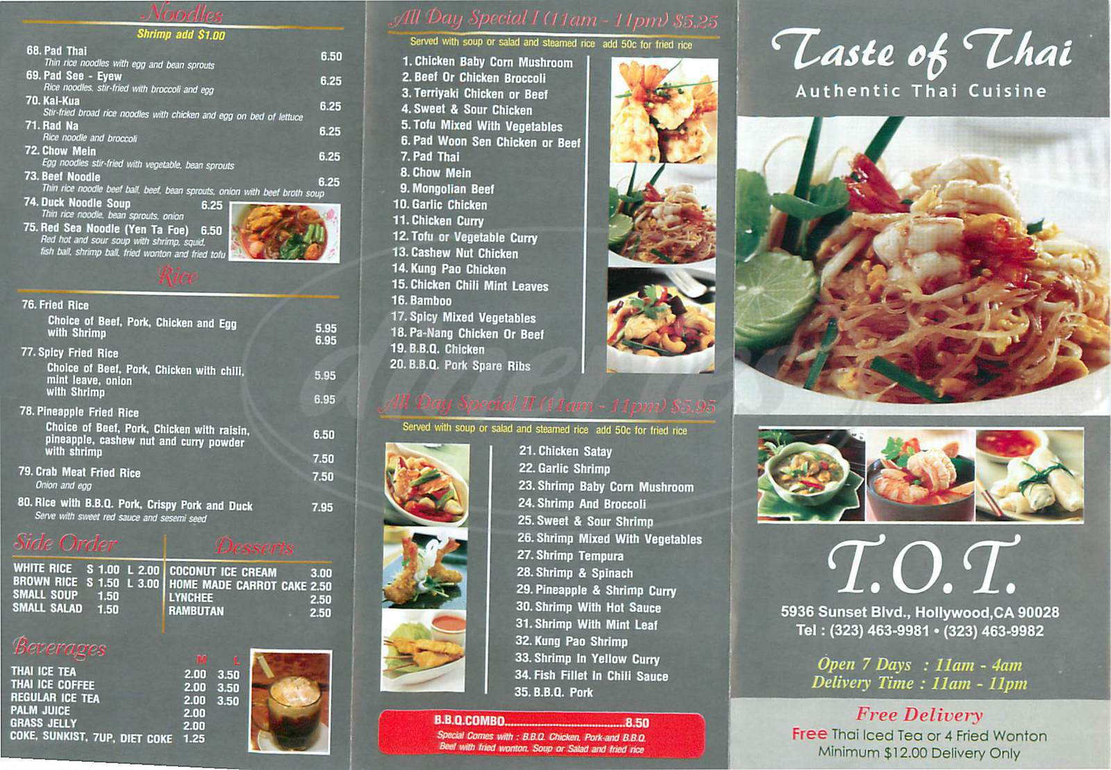 menu for Taste of Thai