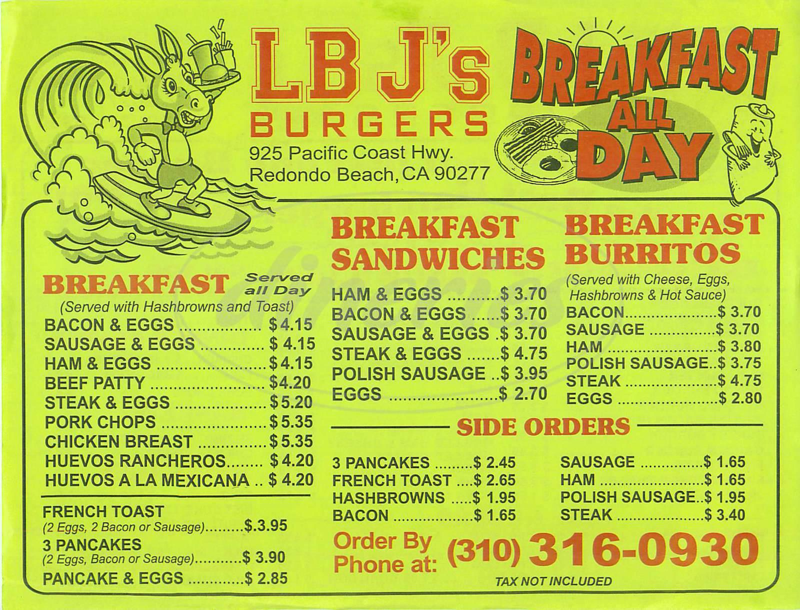 menu for LB J's Burgers
