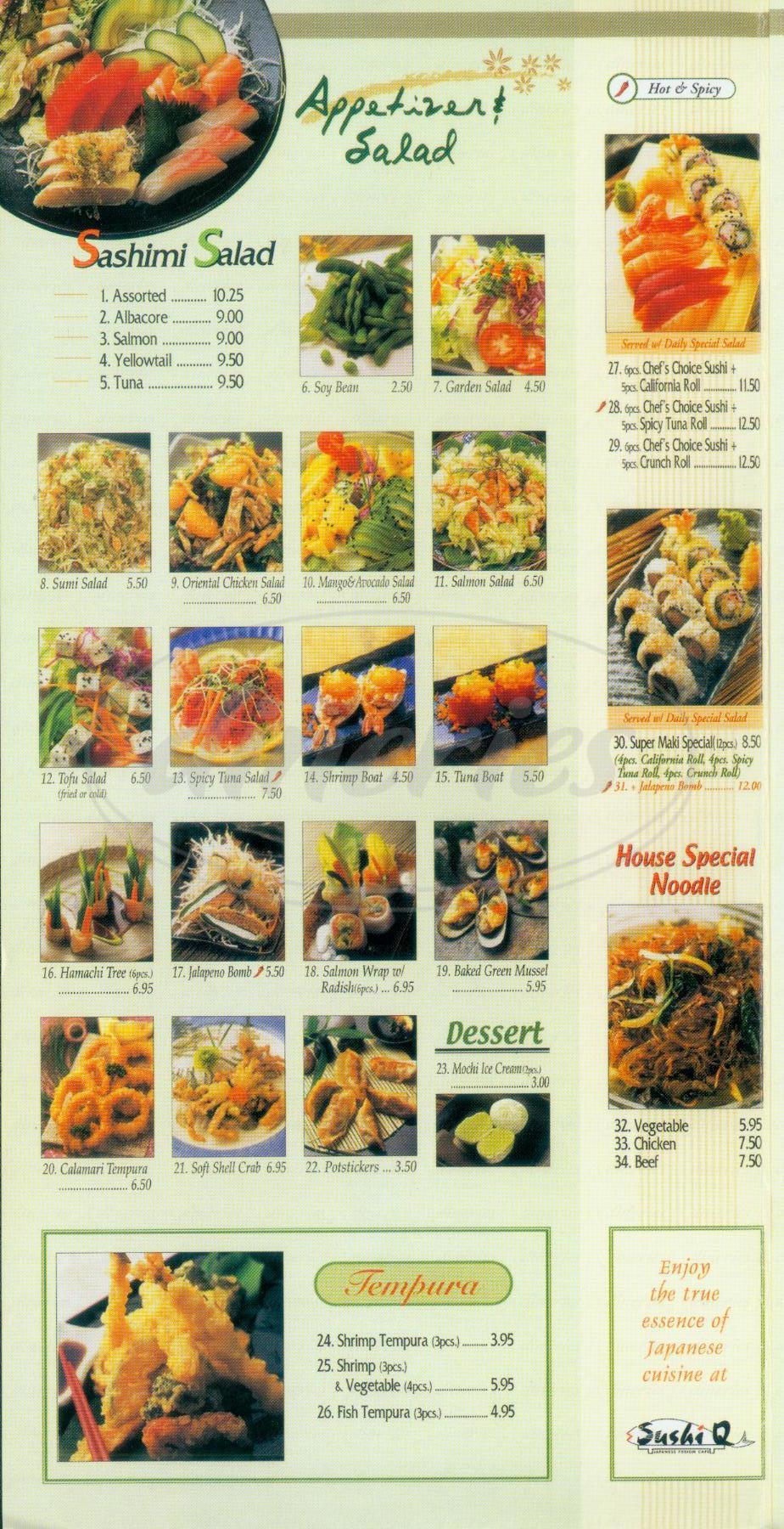 menu for Sushi Q