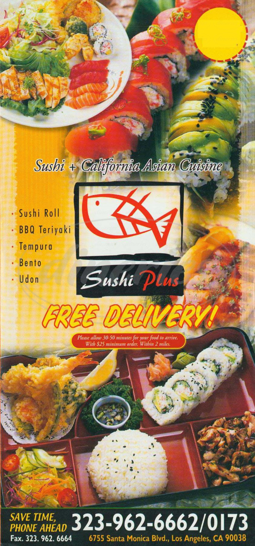 menu for Sushi Plus