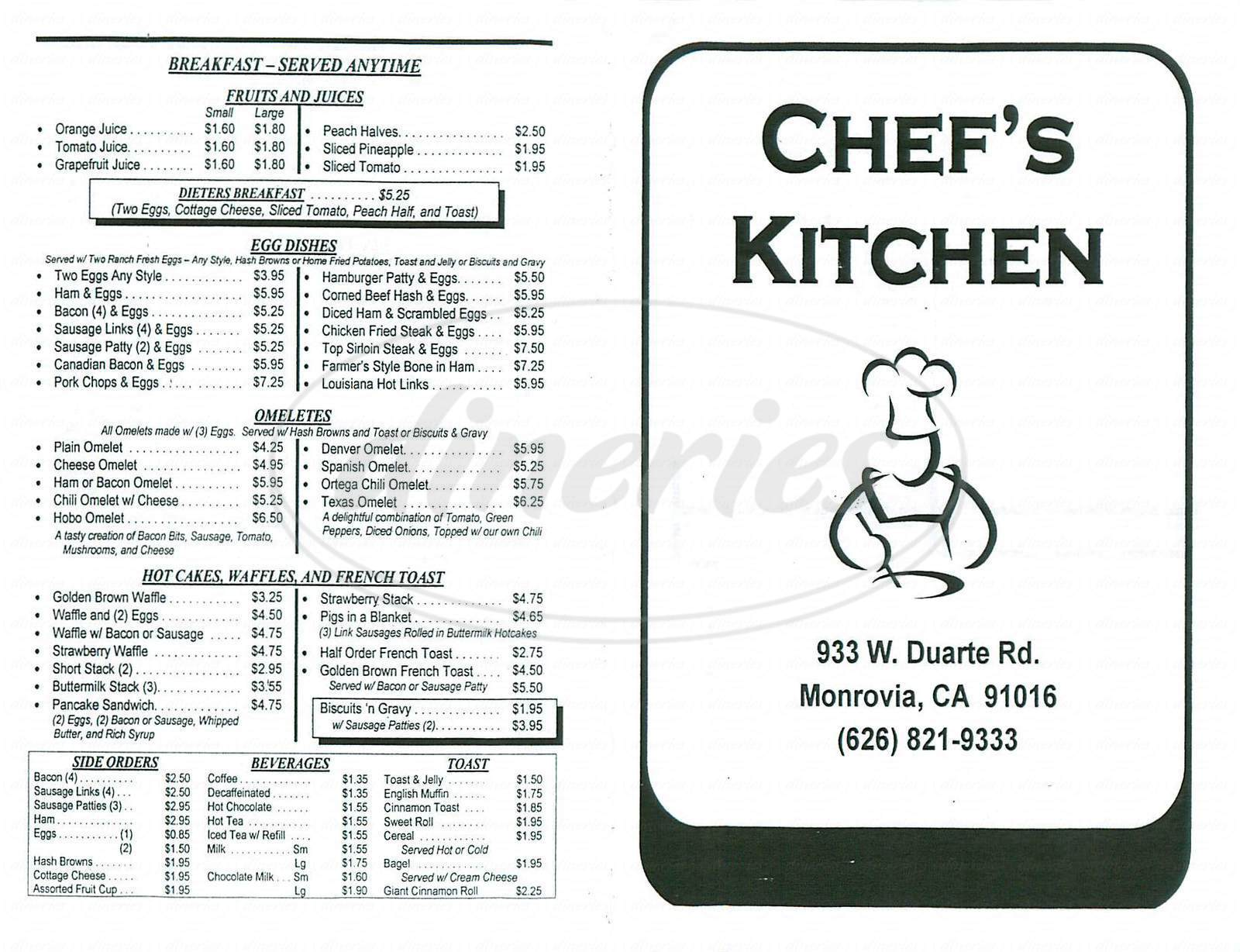 menu for Chefs Kitchen