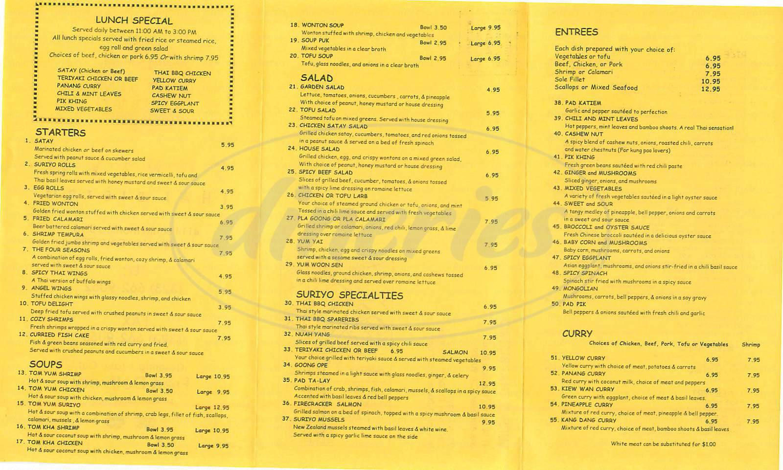 menu for Suriyo Thai Bistro