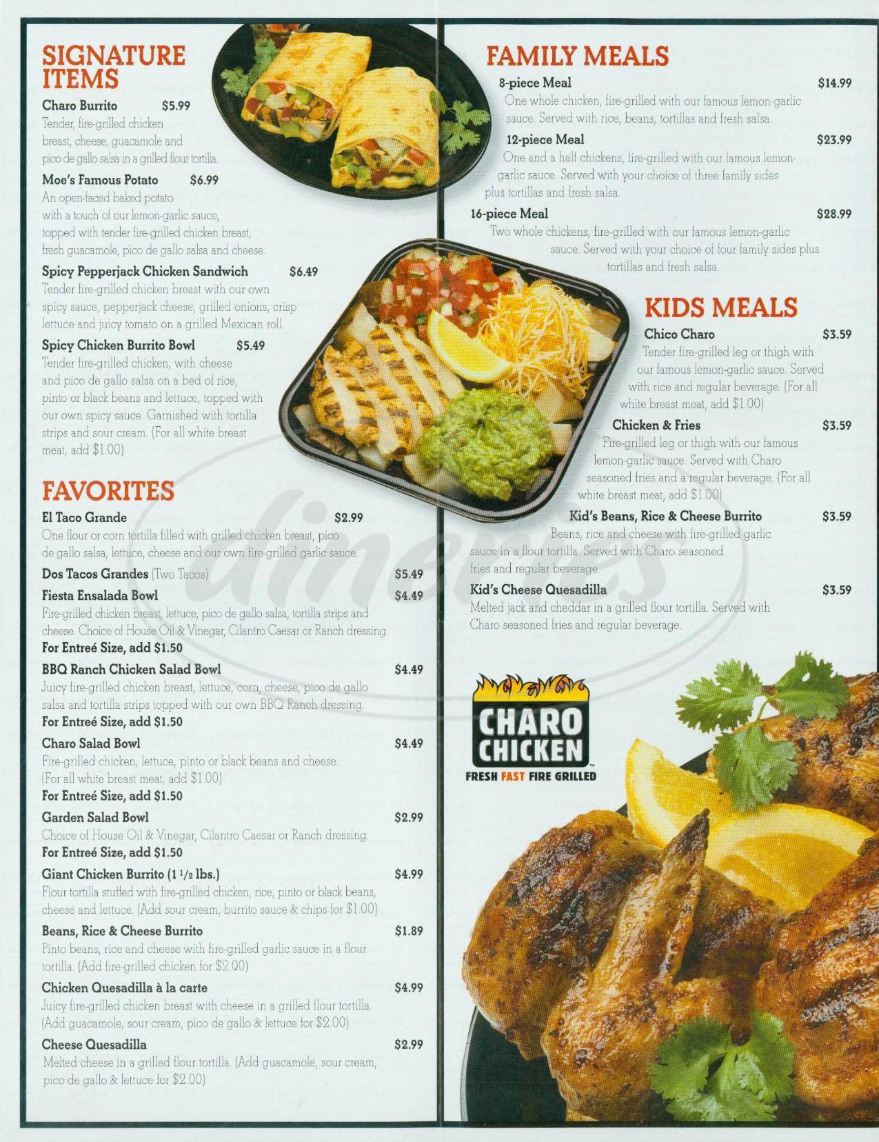 menu for Charo Chicken
