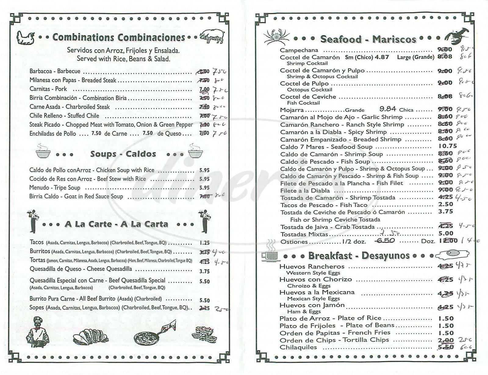 menu for Tacos la Fonda