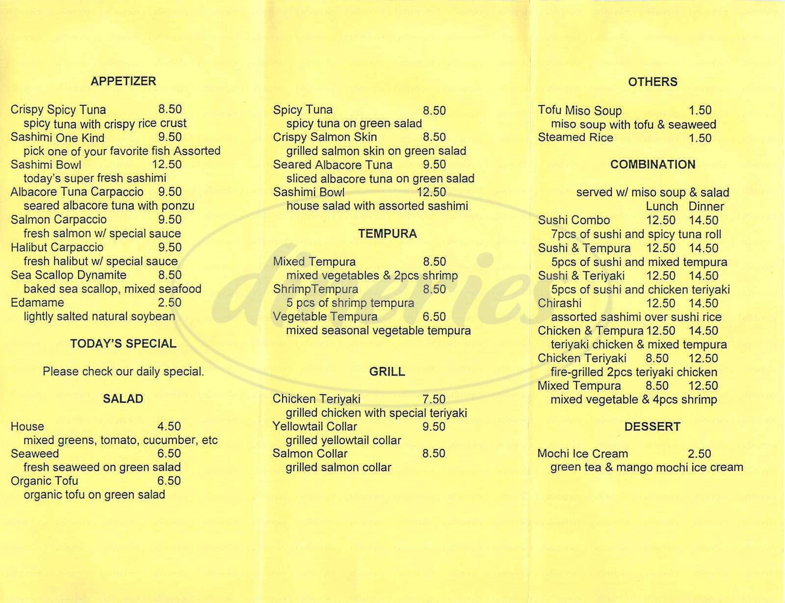 menu for The Sushi House