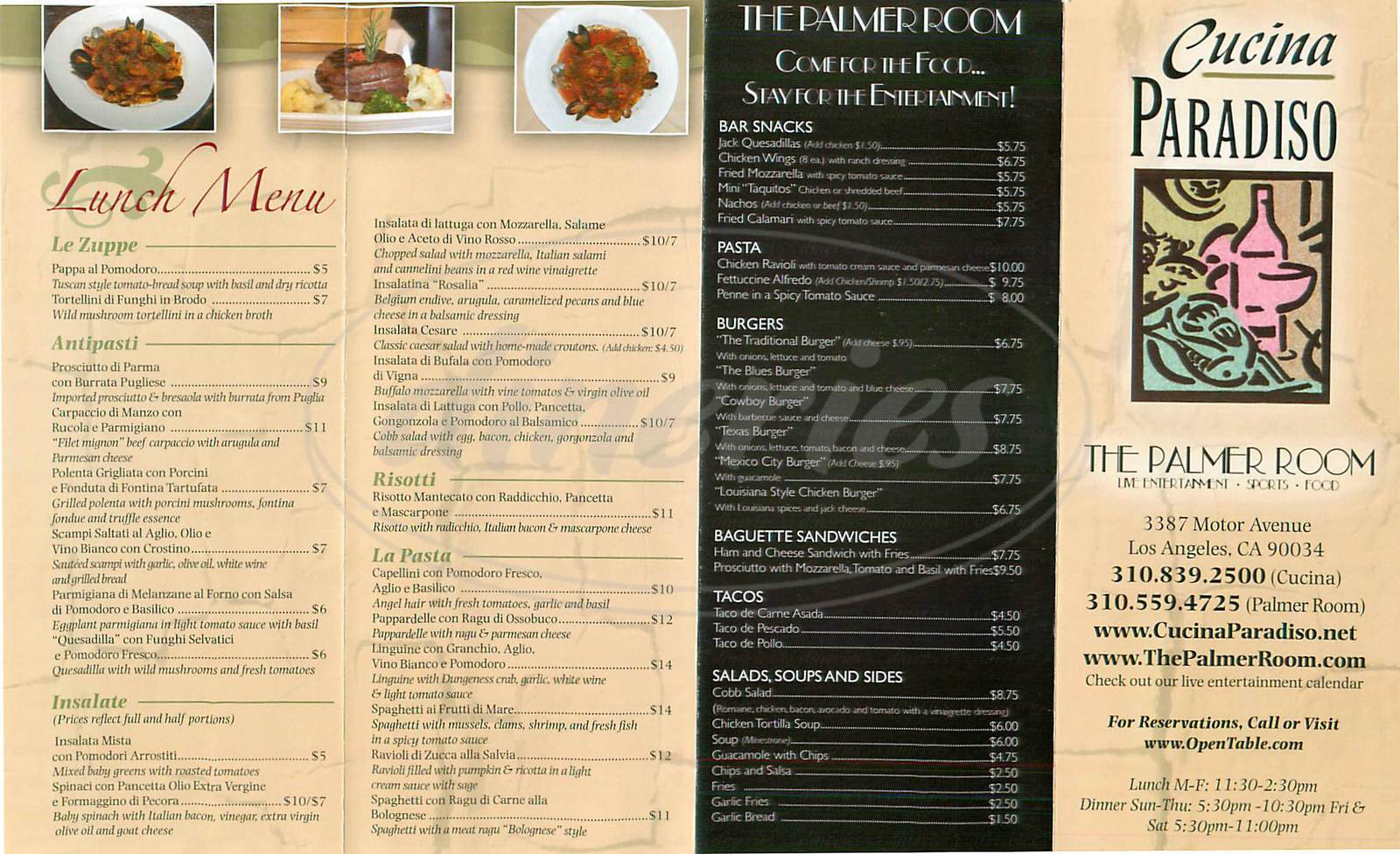 menu for Cucina Paradiso