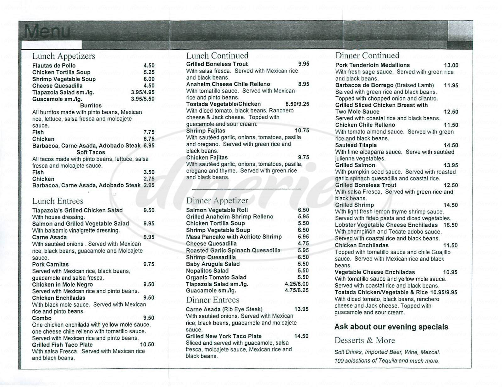 menu for Tlapazola Grill