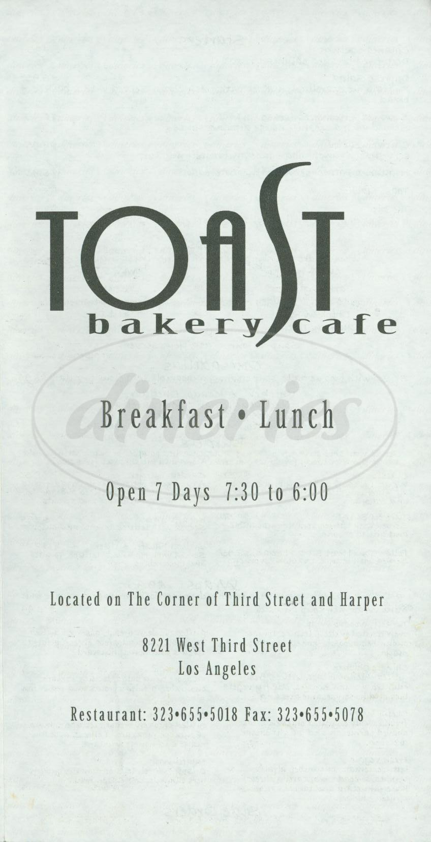 menu for Toast Bakery Café