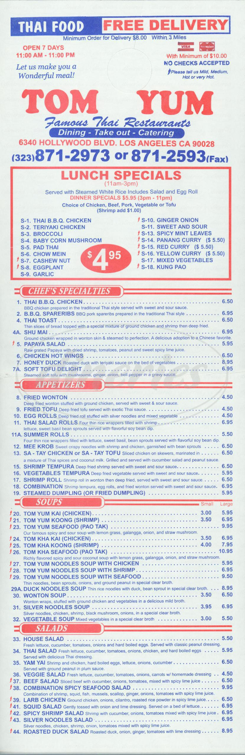 menu for Tom Yum Thai Restaurant