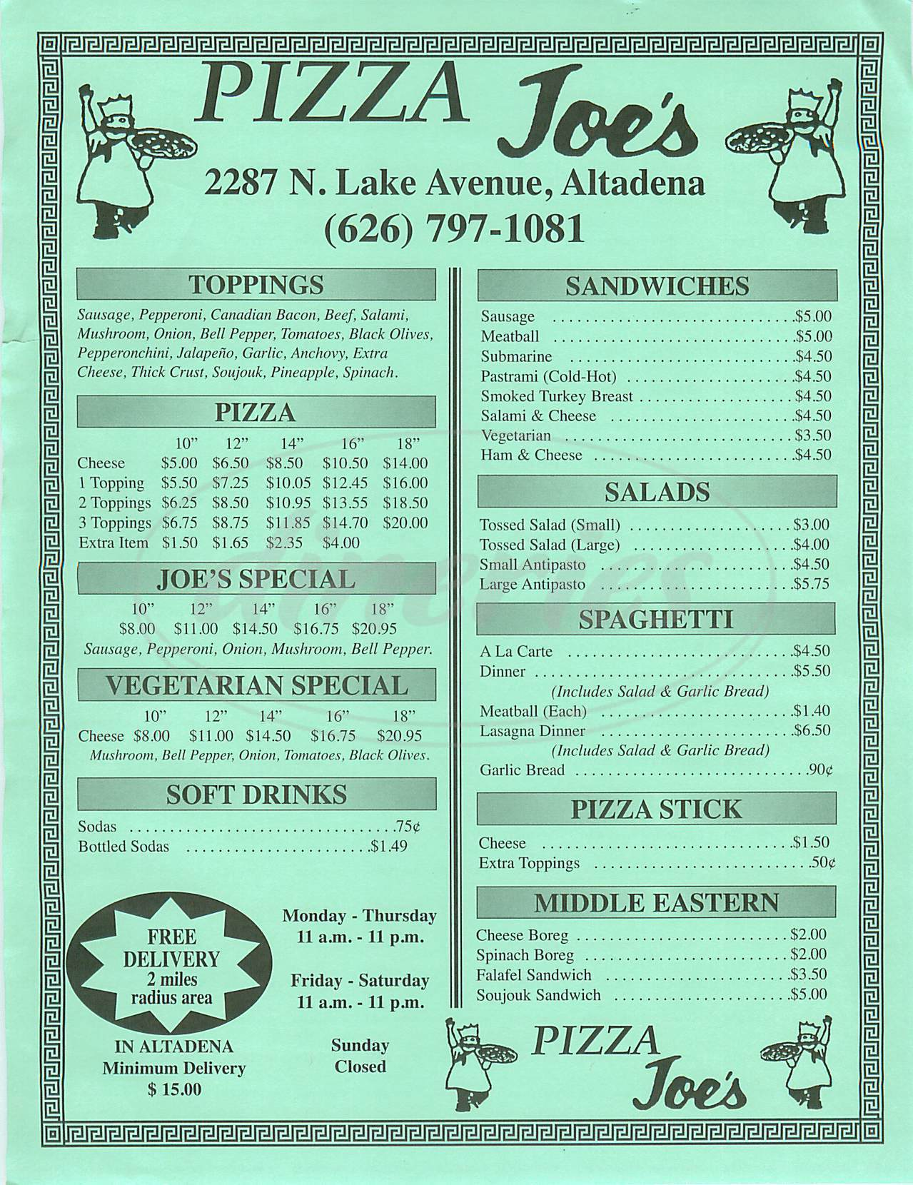 menu for Pizza Joe's